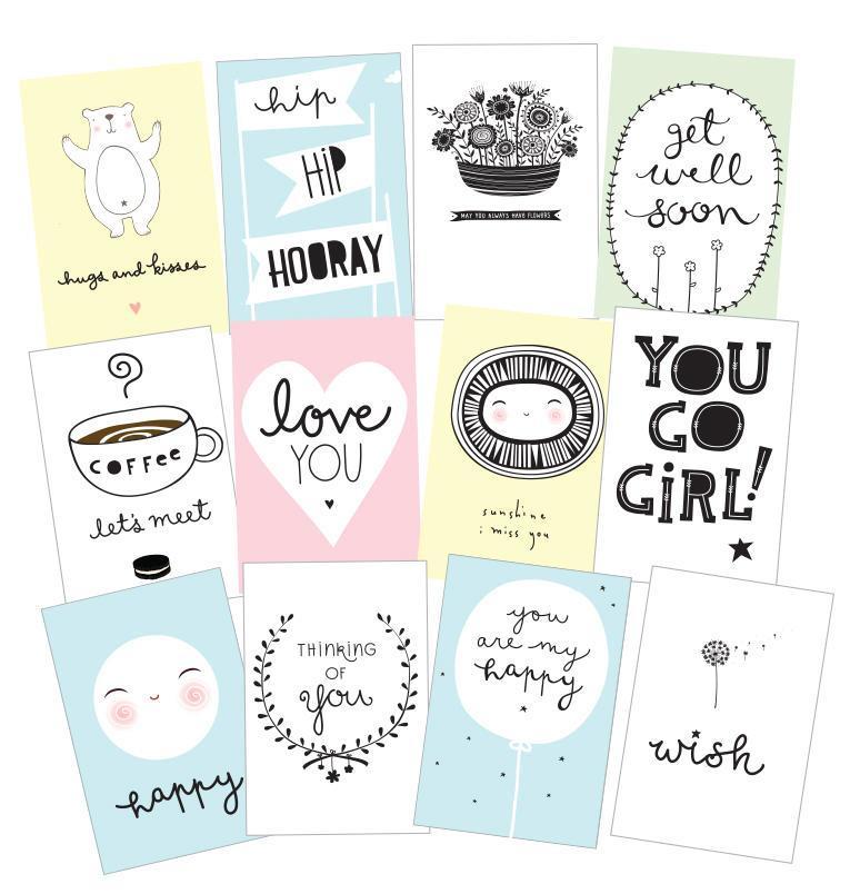 A Little Lovely company Pohlednice Sentiments - set 12 ks
