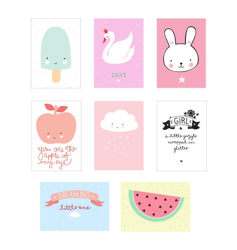 A Little Lovely company Papírové fólie pro lightbox Little Girl A4 - set 8 ks