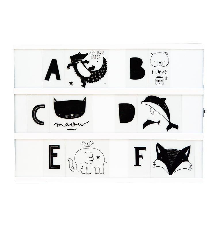 A Little Lovely company Set obrázků a písmenek pro Lightbox ABC Black