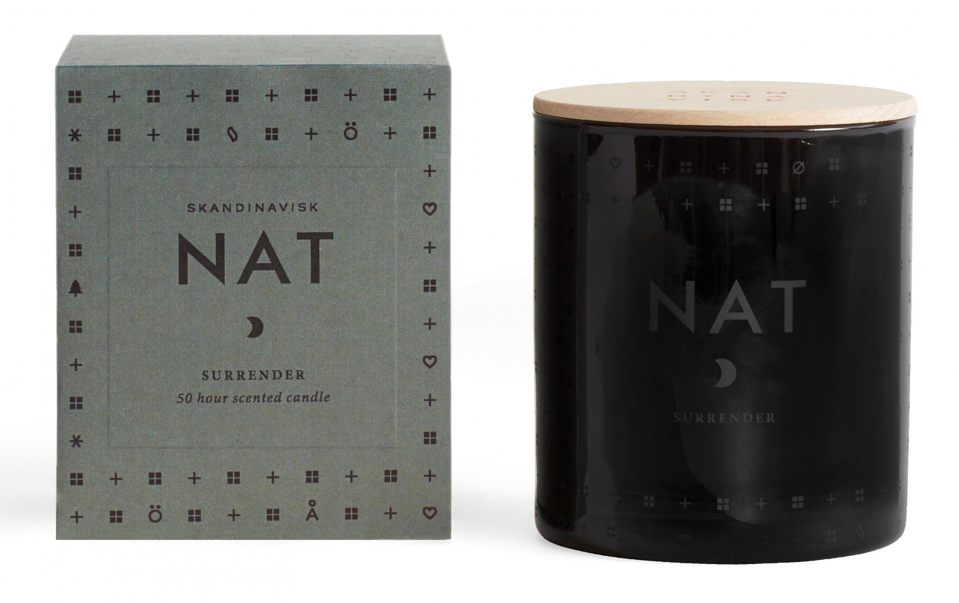 SKANDINAVISK Vonná svíčka NAT (noc) 190 g, černá barva, bílá barva, sklo