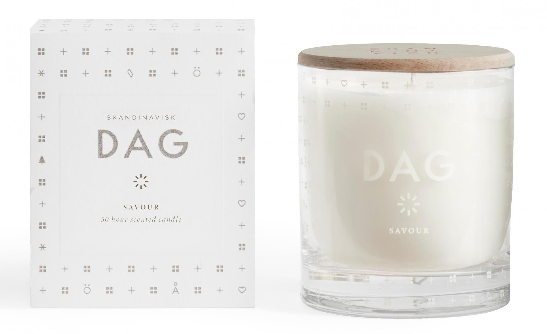 SKANDINAVISK Vonná svíčka DAG (den) 190 g, bílá barva, sklo