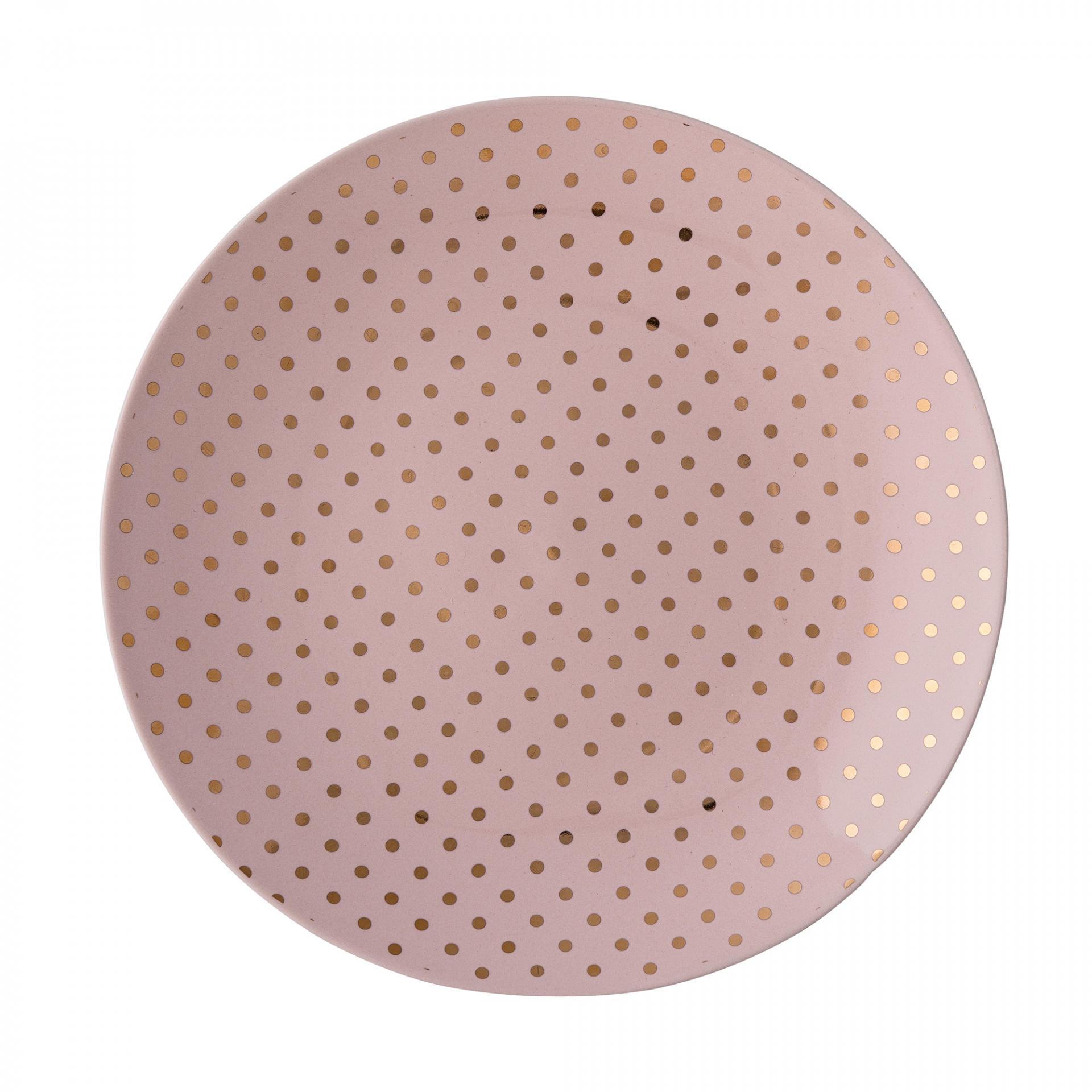 Bloomingville Dezertní talíř Henrietta Gold dots, růžová barva, zlatá barva, keramika 20 cm