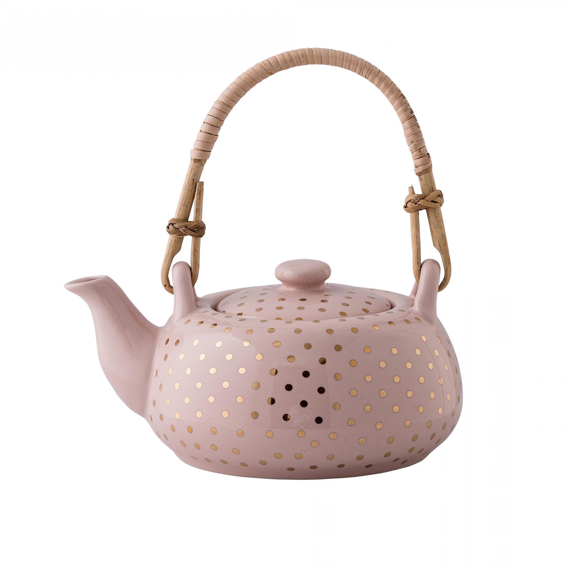 Bloomingville Čajová konvice Henrietta Gold dots, růžová barva, zlatá barva, keramika