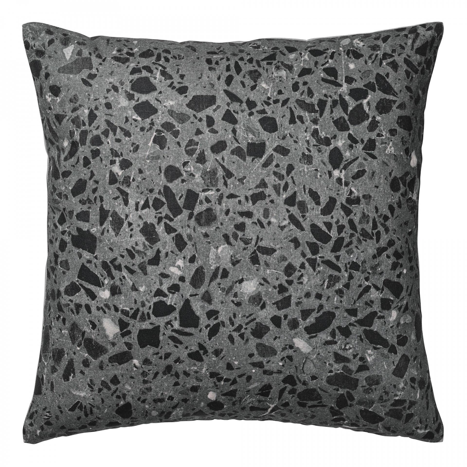 Bloomingville Polštář Terrazzo black 45x45 cm, šedá barva, černá barva, textil