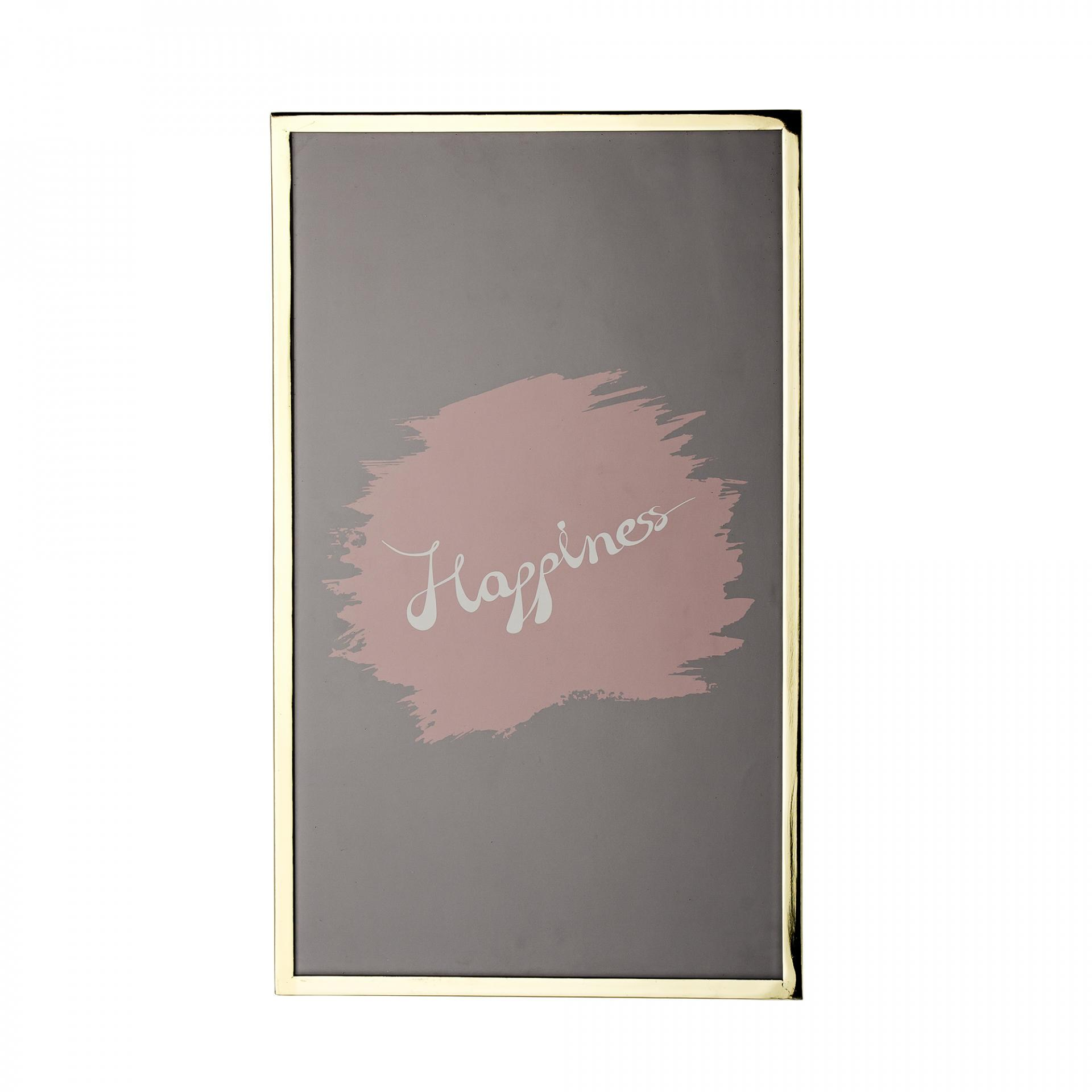 Bloomingville Obrázek ve zlatém rámu Happiness, růžová barva, šedá barva, zlatá barva, sklo, kov