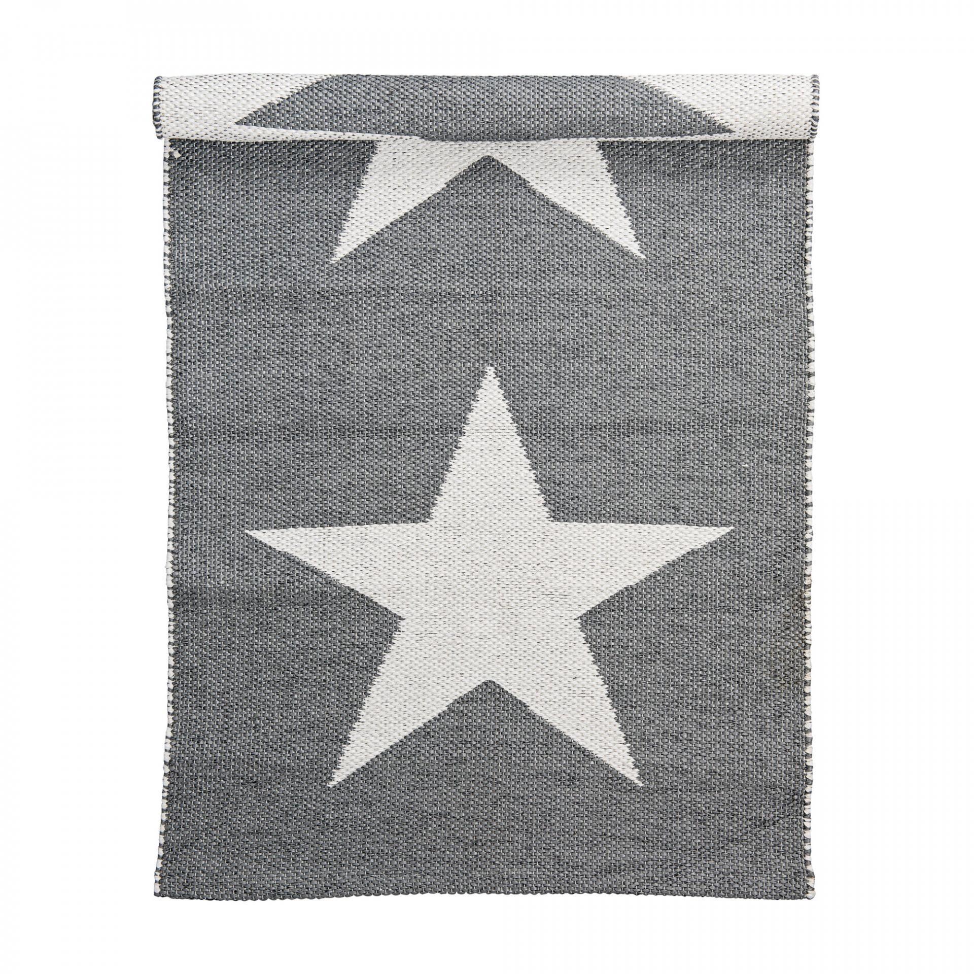 Bloomingville Venkovní koberec z umělé hmoty Grey Star, šedá barva, bílá barva, plast Bílá