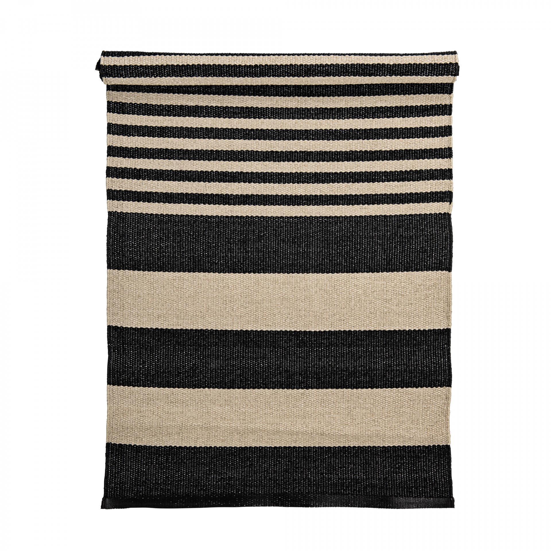 Bloomingville Venkovní koberec z umělé hmoty Kit/Black, béžová barva, černá barva, plast Černá