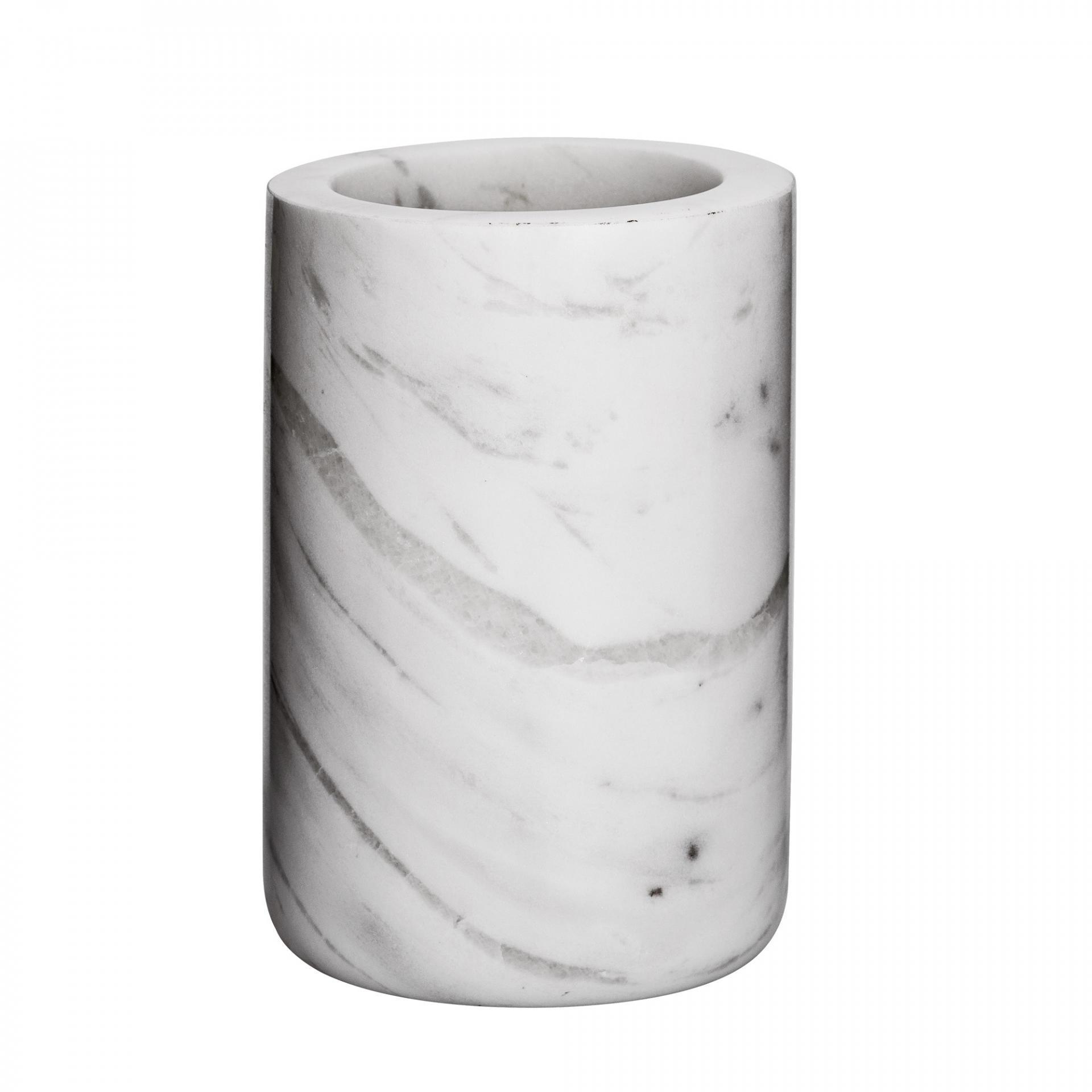 Bloomingville Mramorový kalíšek do koupelny White Marble, šedá barva, mramor