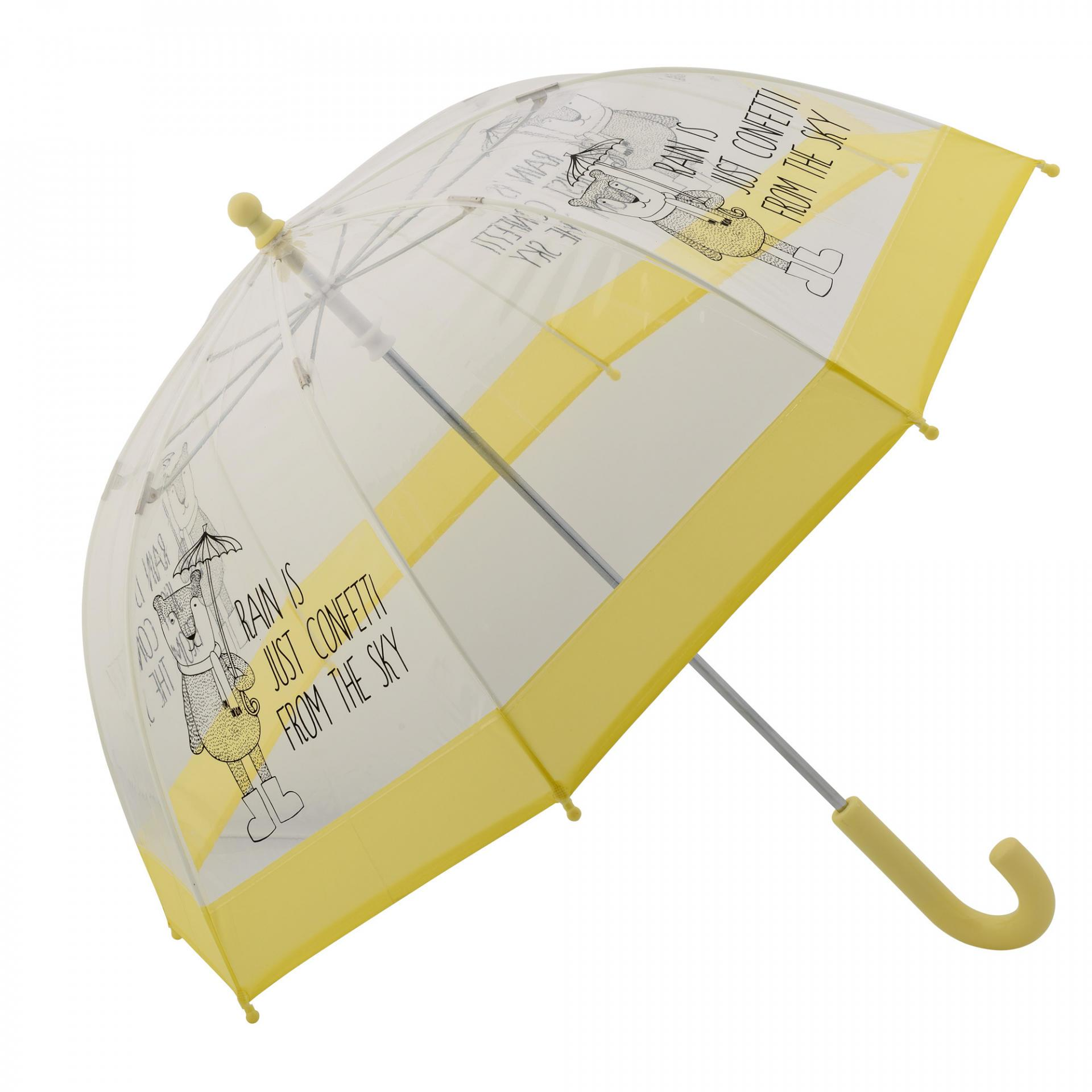 Bloomingville Dětský deštník Yellow, žlutá barva, čirá barva, plast