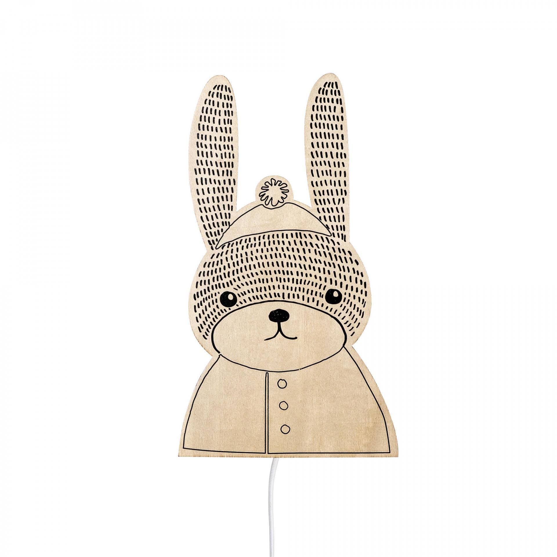 Bloomingville Nástěnná lampička pro děti Rabbit, béžová barva, dřevo