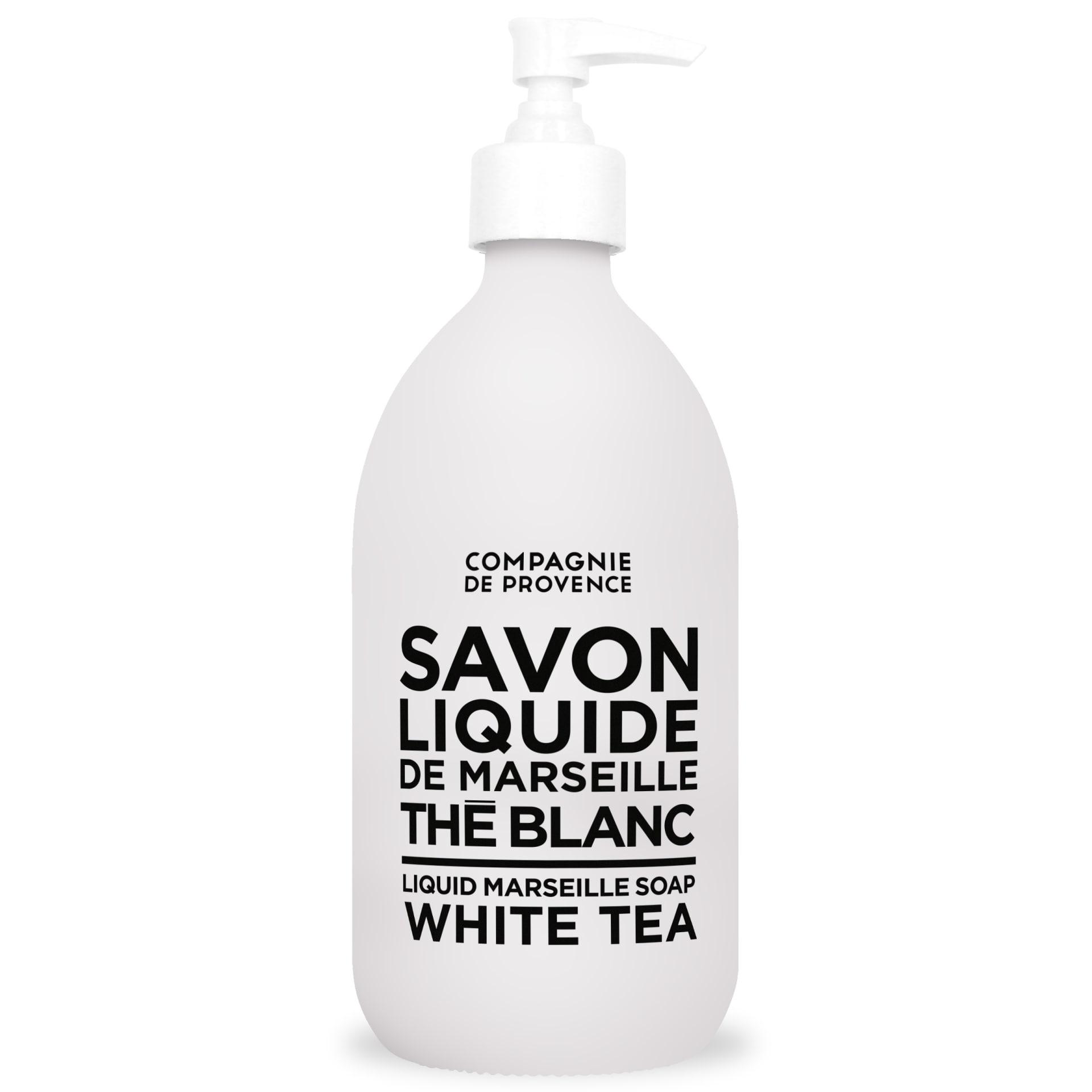 COMPAGNIE DE PROVENCE Tekuté mýdlo Bílý čaj 500 ml, černá barva, bílá barva, sklo