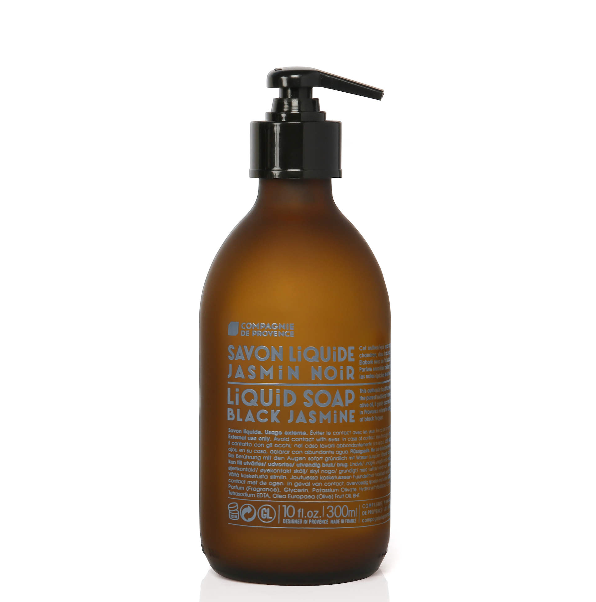 COMPAGNIE DE PROVENCE Tekuté mýdlo Jasmín 300ml, hnědá barva, sklo