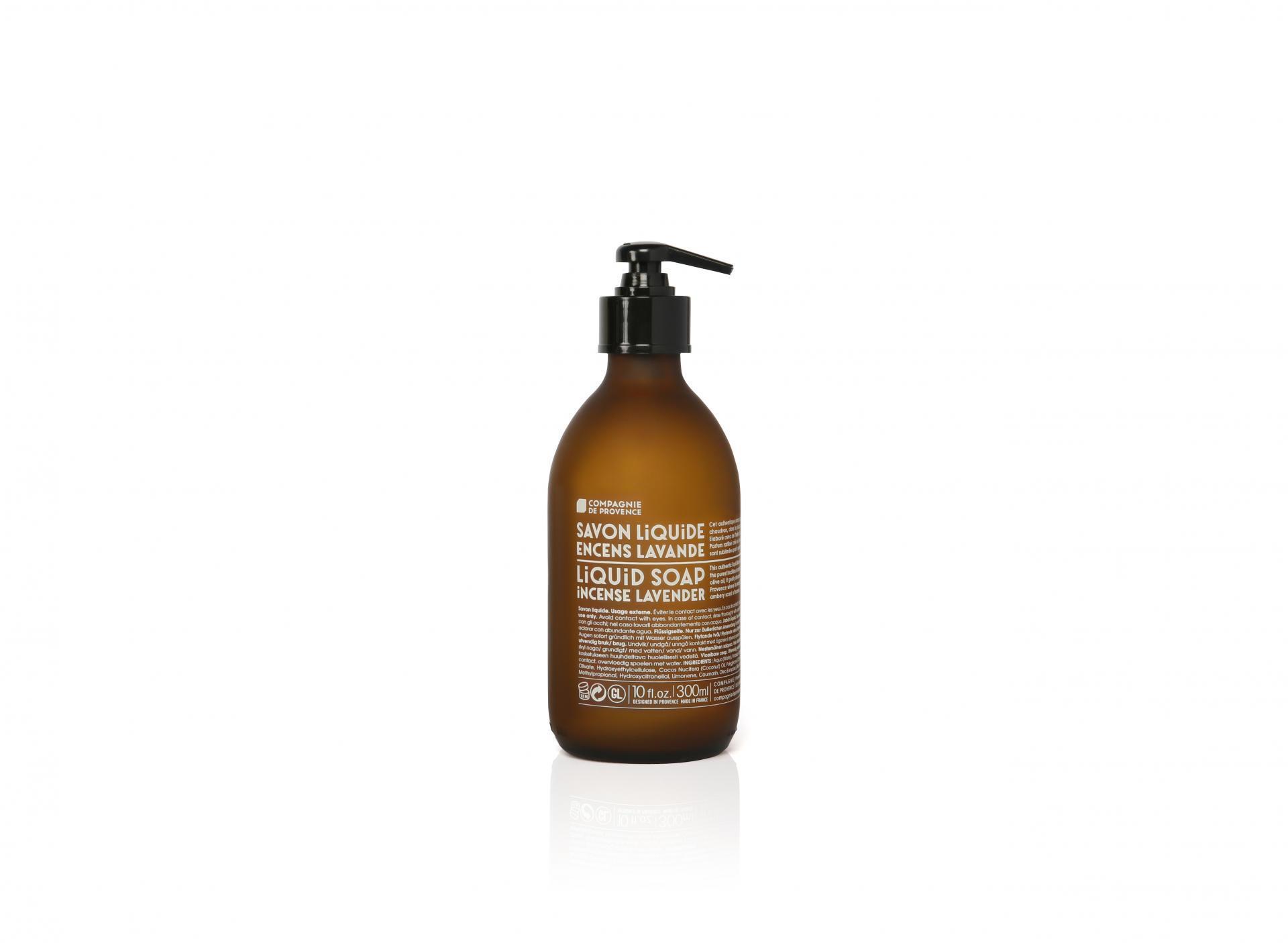 COMPAGNIE DE PROVENCE Tekuté mýdlo Oliva a levandule 300ml, hnědá barva, sklo