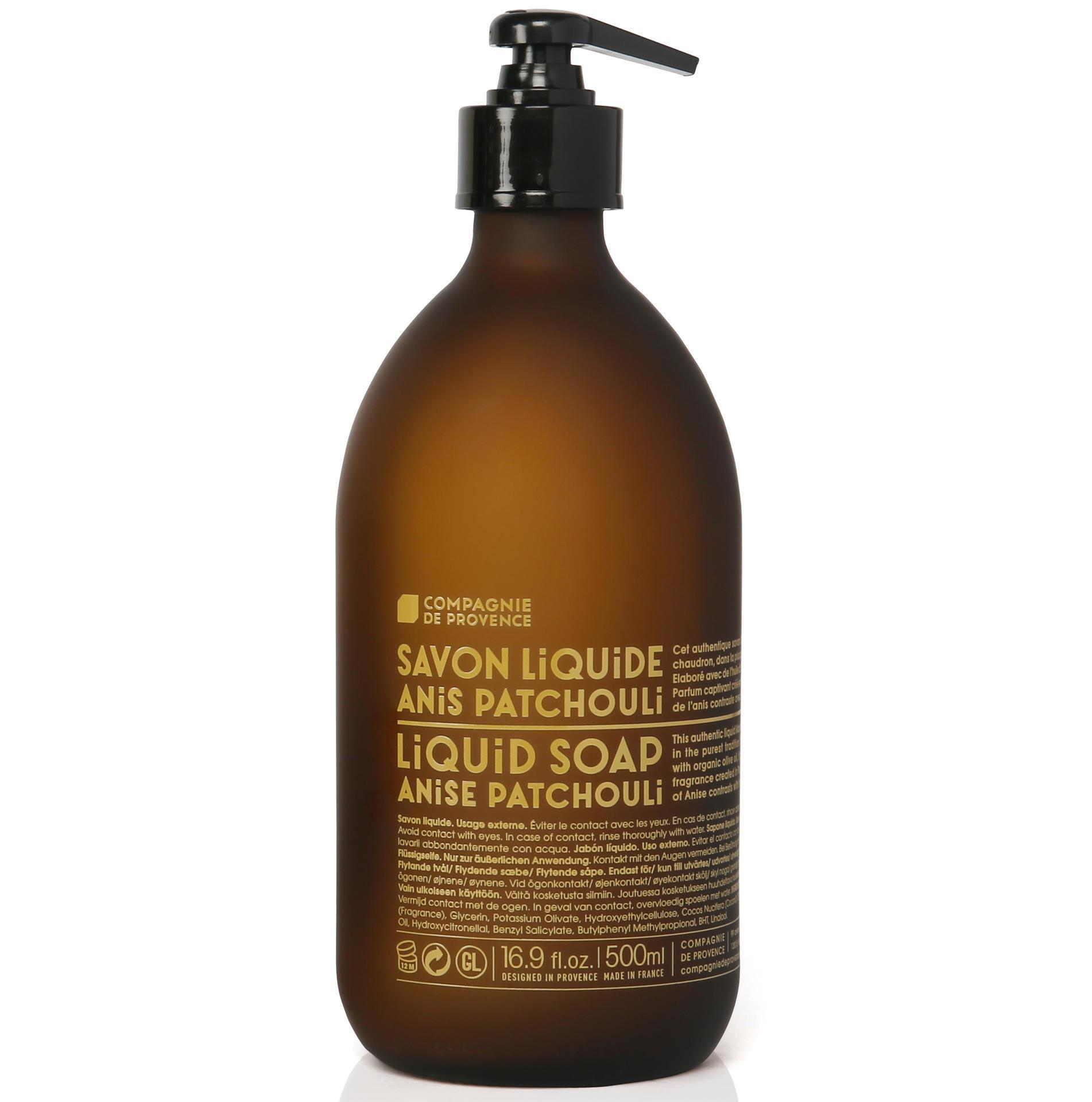 COMPAGNIE DE PROVENCE Tekuté mýdlo Anýz a pačuli 500ml, hnědá barva, sklo