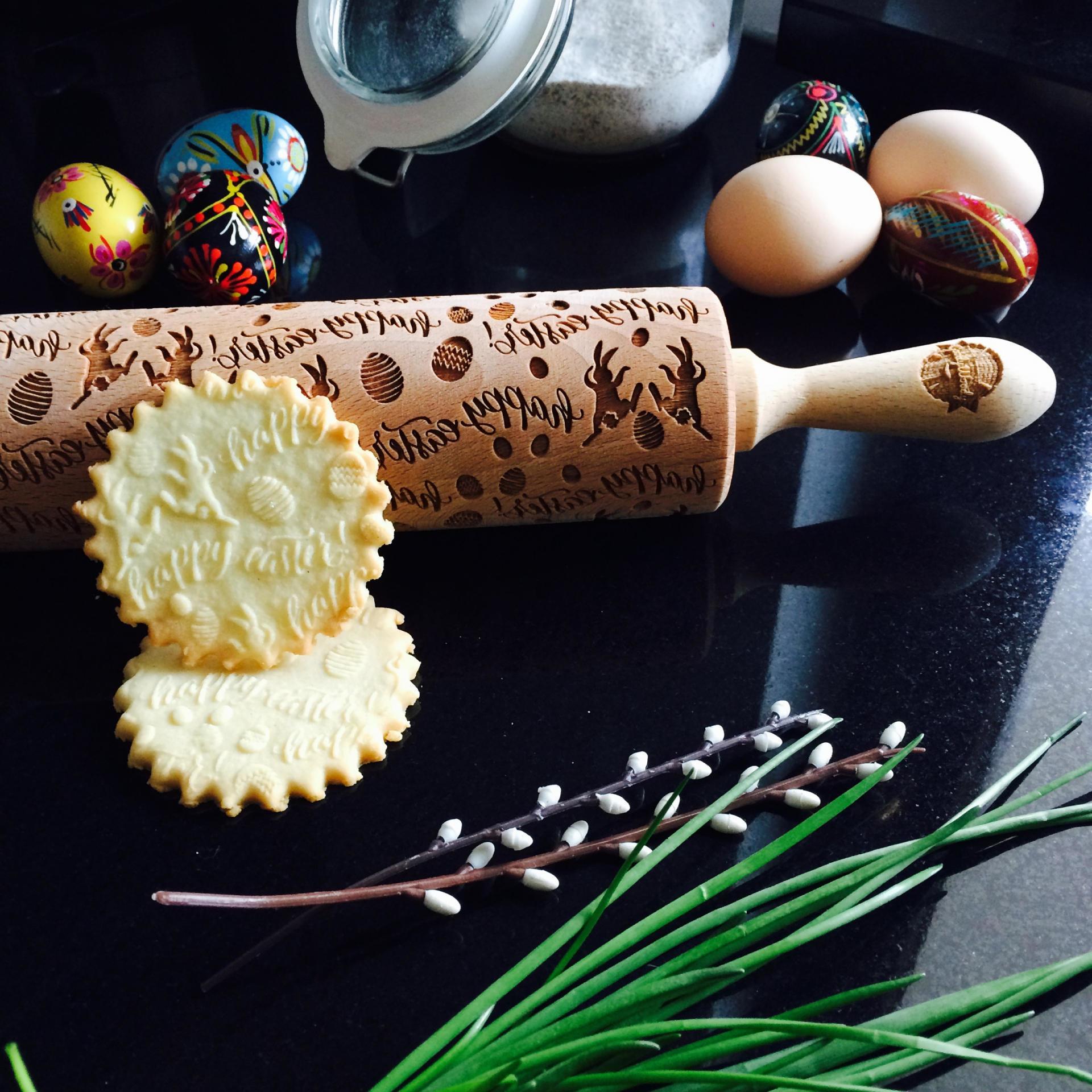 Goody Woody Velikonoční embosovaný váleček na těsto Easter Bunny, hnědá barva, dřevo