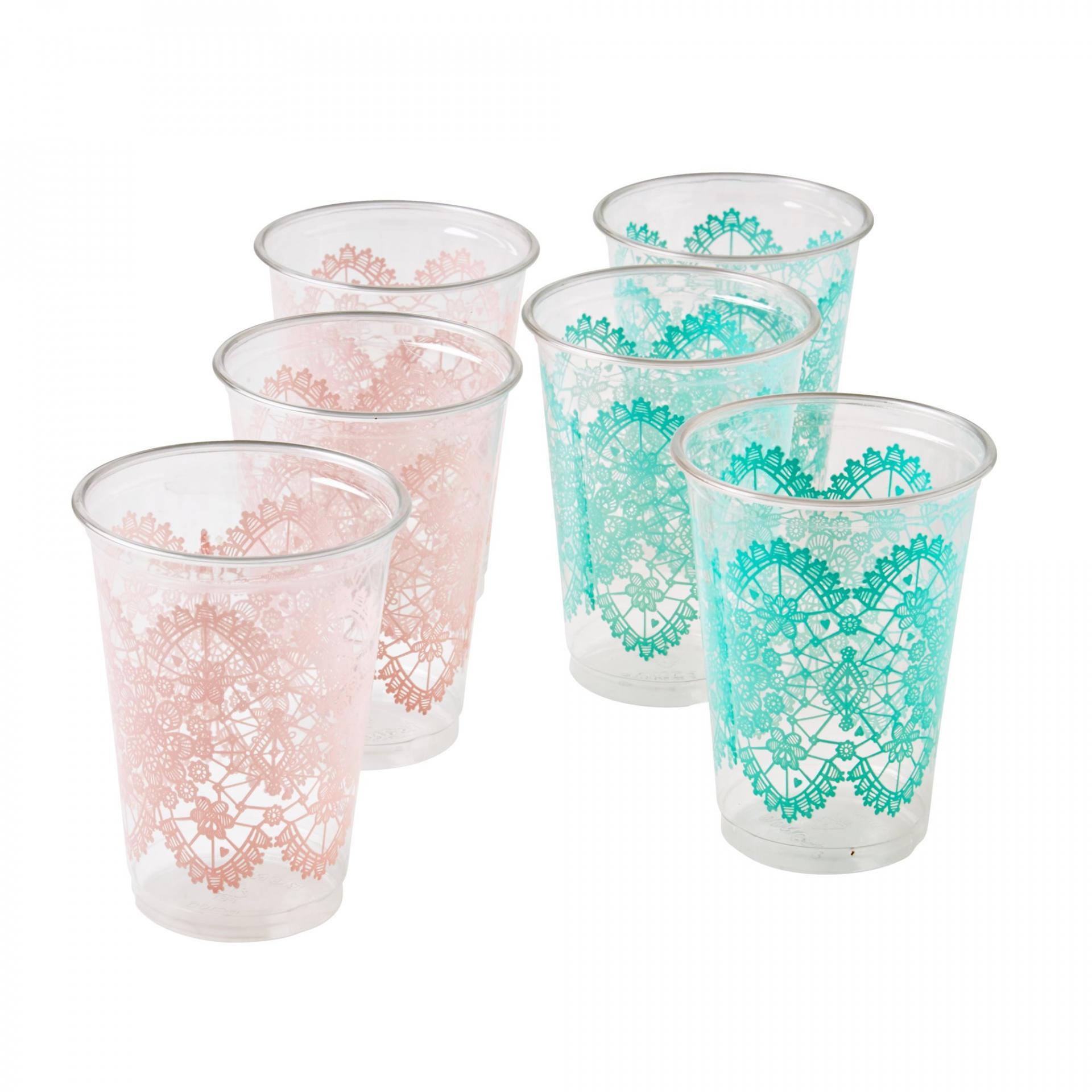rice Plastové kelímky Lace - set 24 ks Zelené kelímky, růžová barva, zelená barva, plast