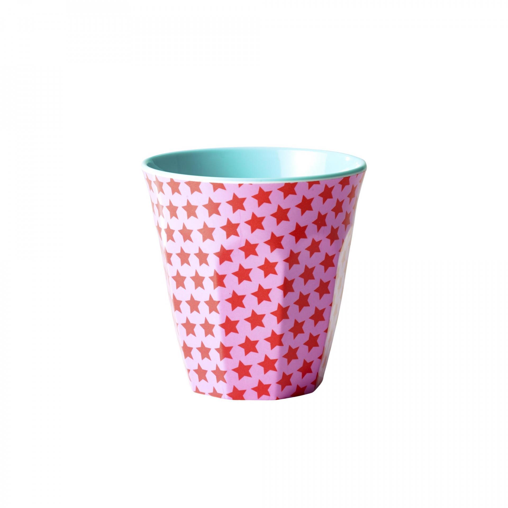 rice Melaminový pohárek Girls star blue, červená barva, růžová barva, modrá barva, melamin