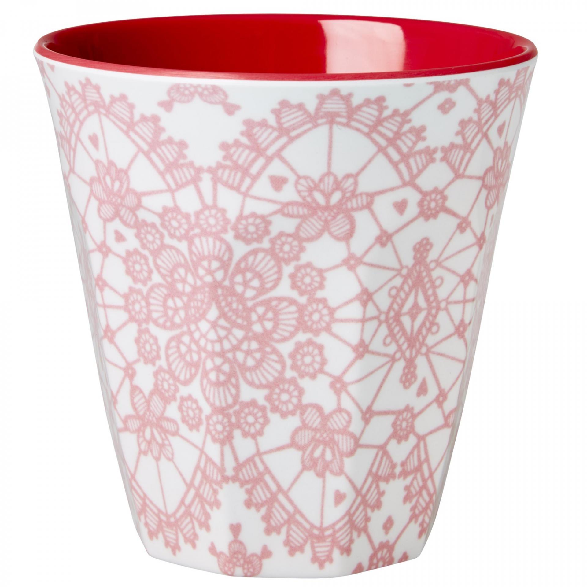 rice Melaminový pohárek Lace red, červená barva, růžová barva, melamin