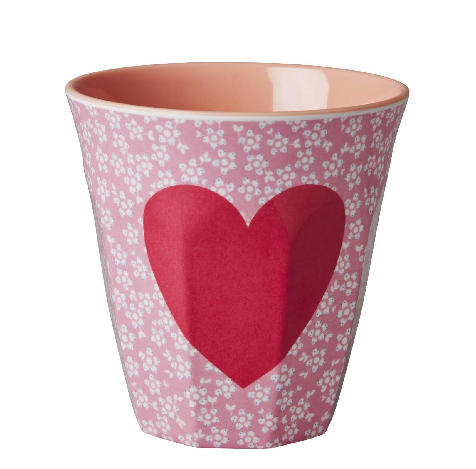 rice Melaminový pohárek Heart, červená barva, růžová barva, melamin