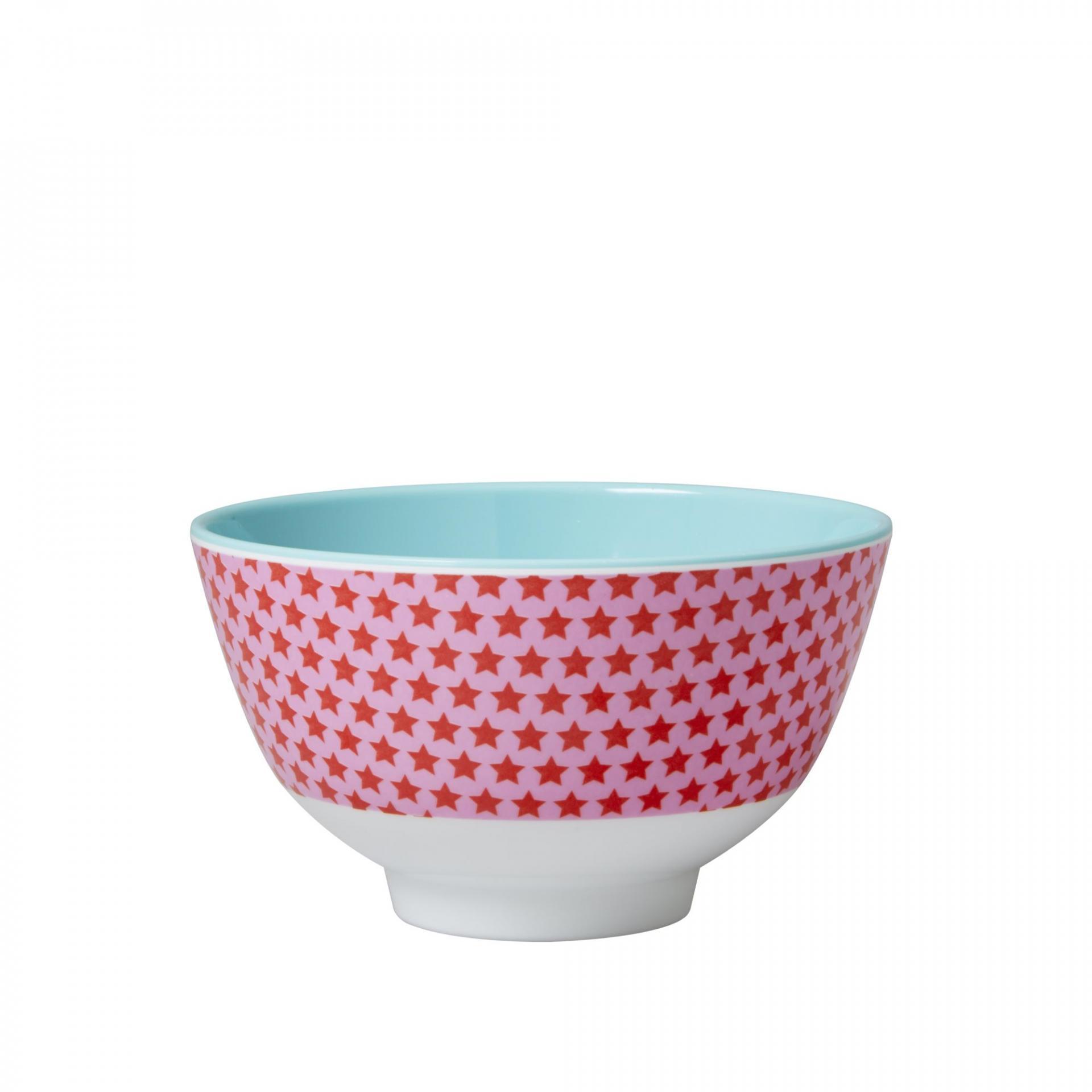 rice Melaminová miska Girls star small, růžová barva, modrá barva