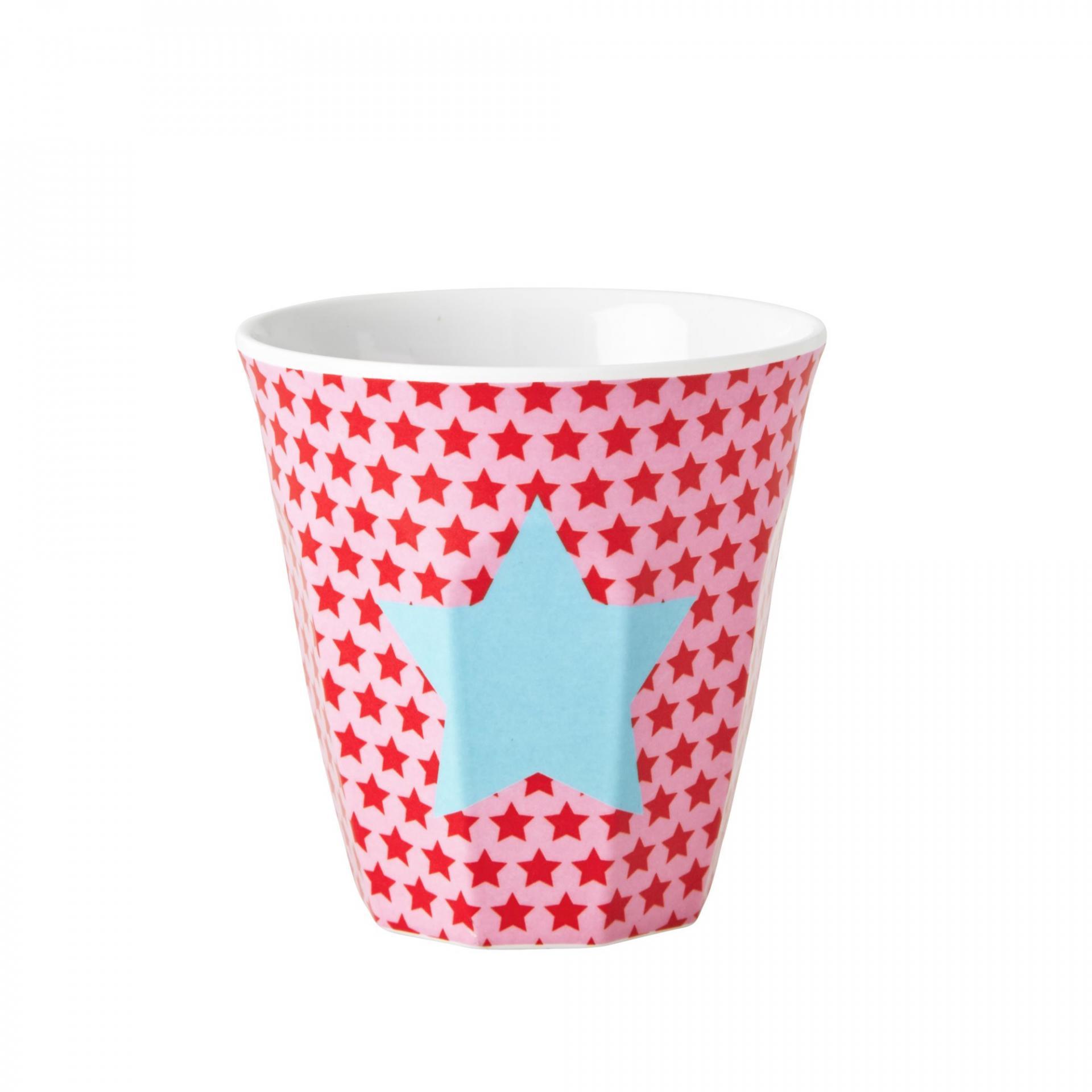 rice Melaminový pohárek Girls star, červená barva, modrá barva, plast