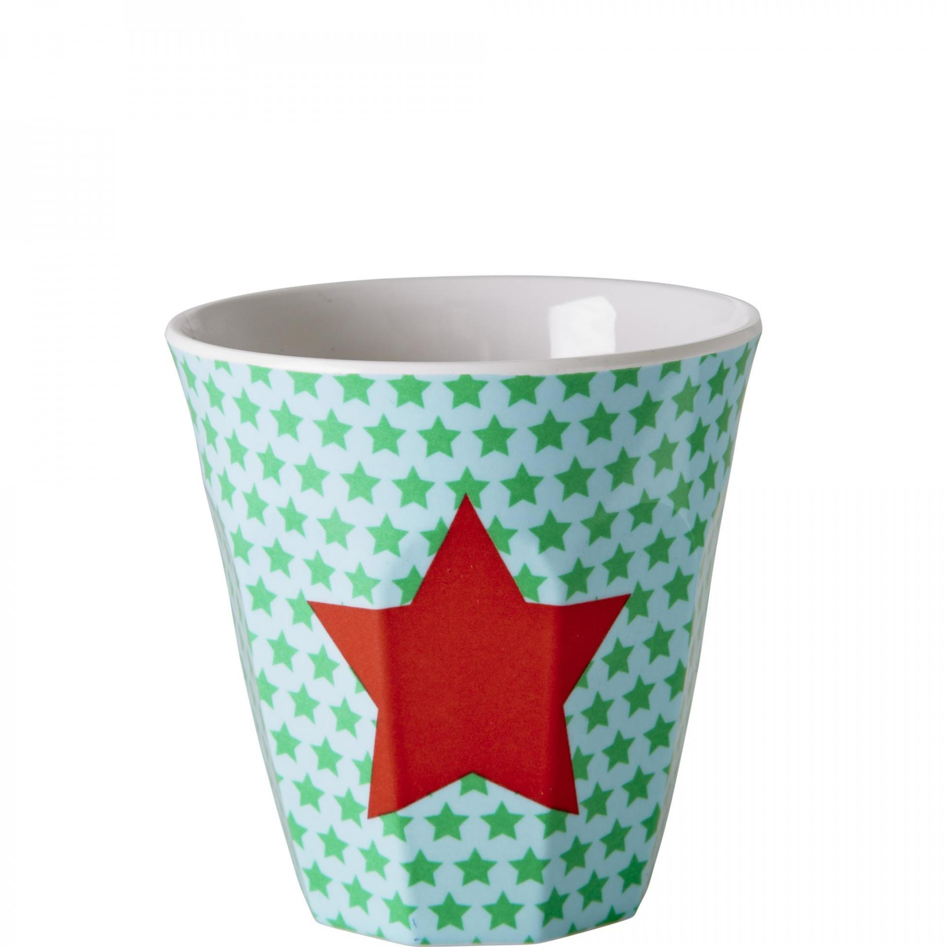 rice Melaminový pohárek Star, červená barva, zelená barva, plast