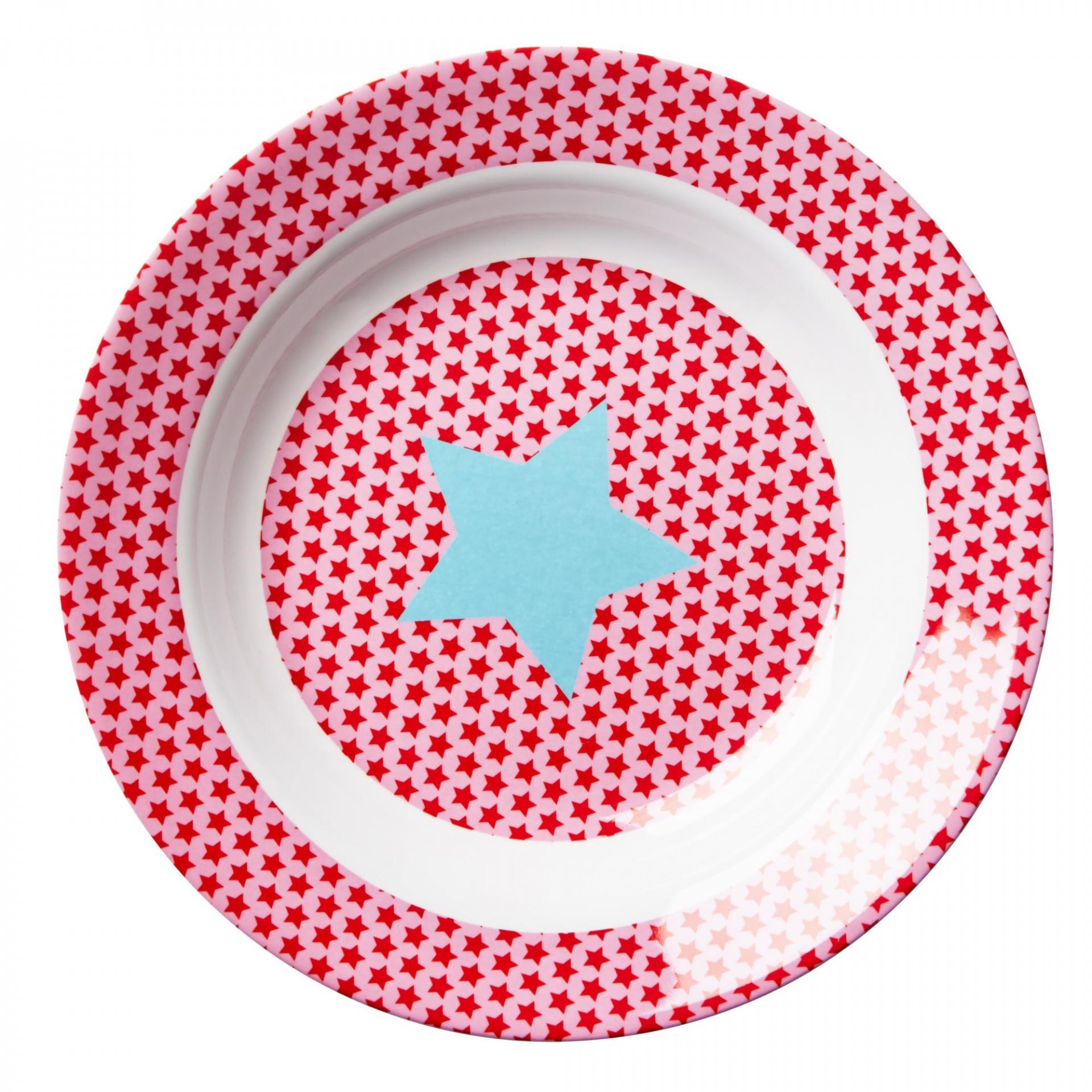 rice Hluboký melaminový talířek Girls star, červená barva, růžová barva, melamin