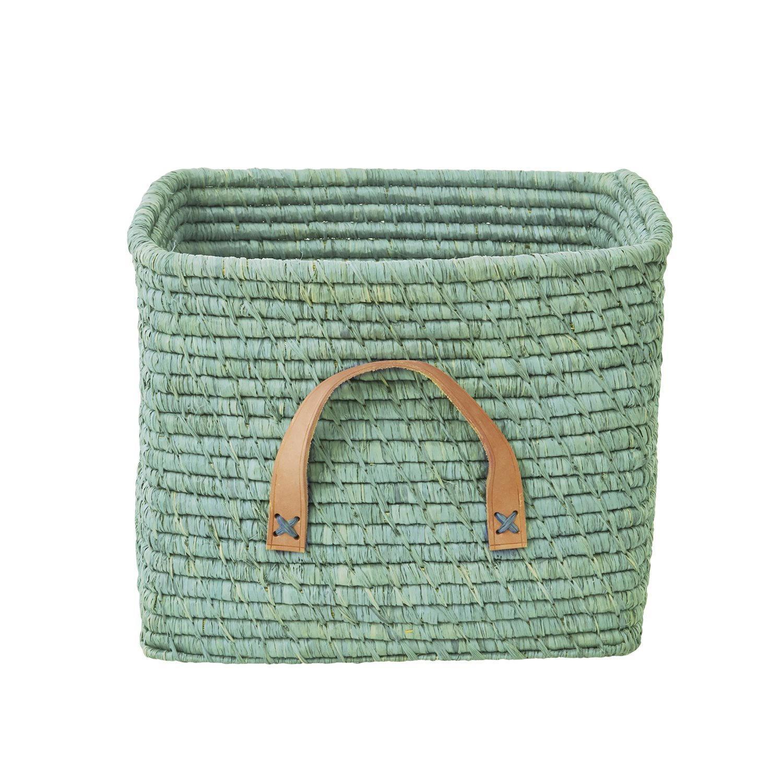 rice Pletený koš s koženou rukojetí Mint, zelená barva, kůže