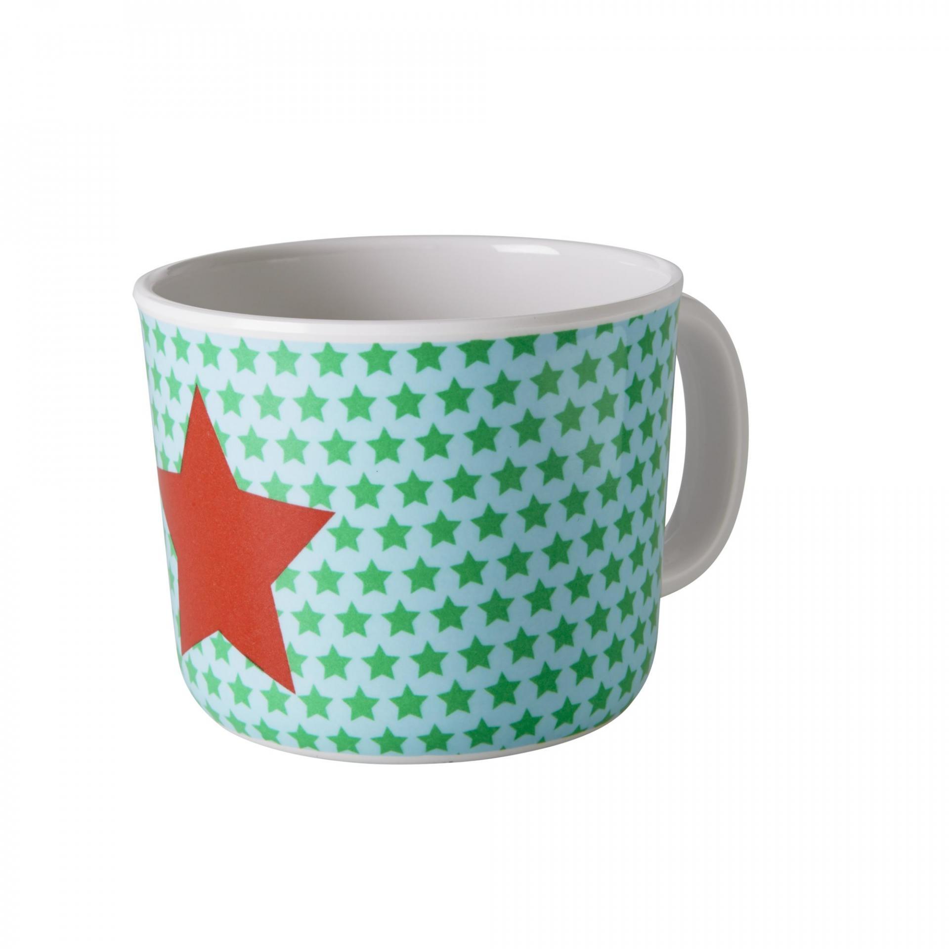 rice Melaminový hrneček Star, červená barva, zelená barva, melamin