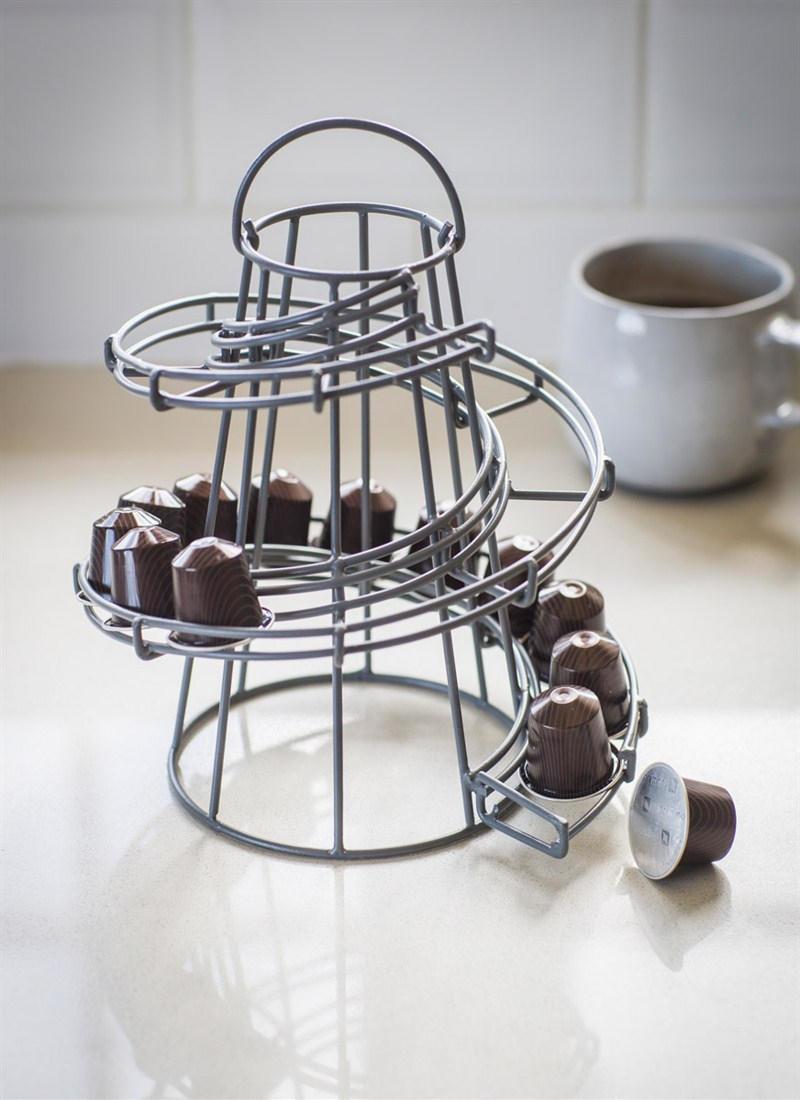 Garden Trading Drátěný stojánek na kávové kapsle Charcoal, šedá barva, kov