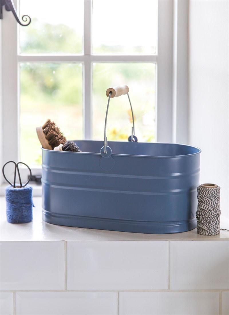 Garden Trading Plechový kyblík Dorset Blue, modrá barva, kov