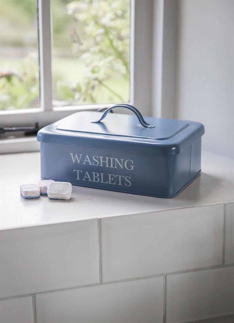 Garden Trading Plechový box na mycí tablety Dorset Blue, modrá barva, kov