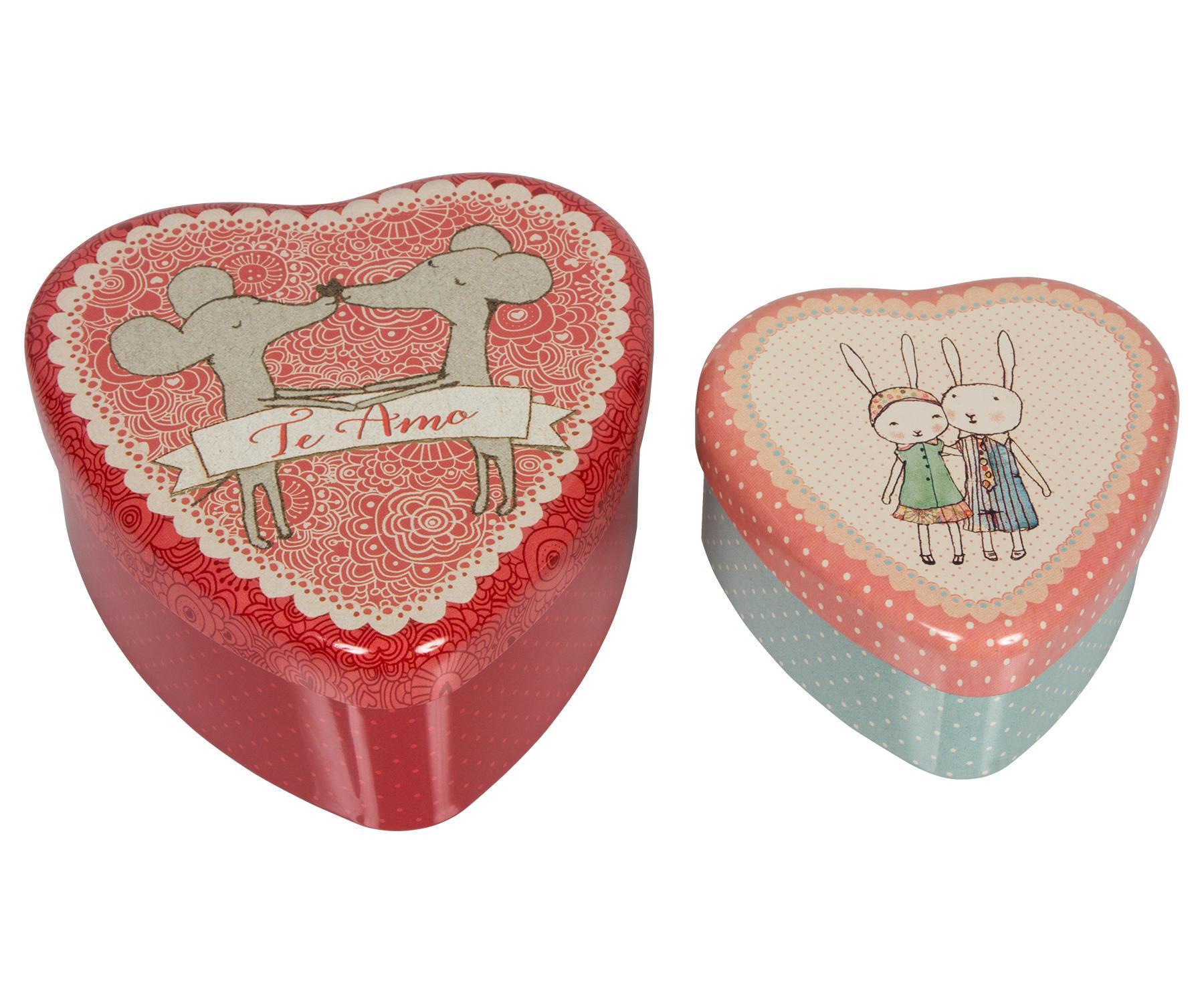 Maileg Plechové krabičky ve tvaru srdce Te amo - set 2 ks, červená barva, multi barva, kov
