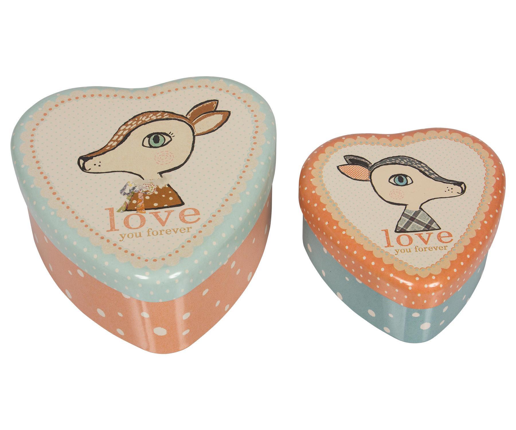Maileg Plechové krabičky ve tvaru srdce Bambi - set 2 ks, červená barva, modrá barva, kov