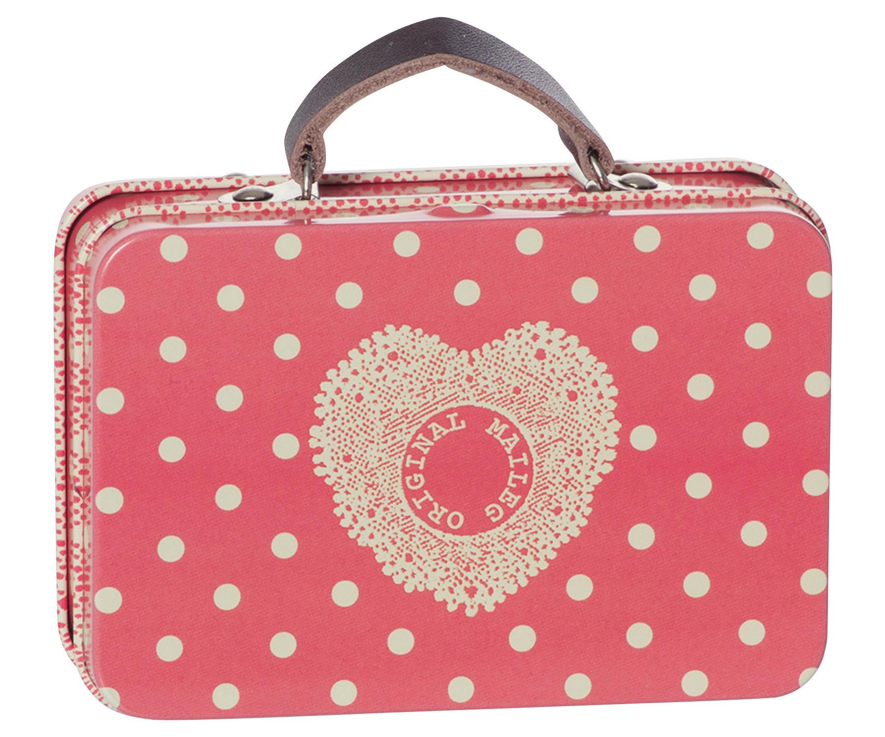 Maileg Plechový mini kufřík Melon, červená barva, kov