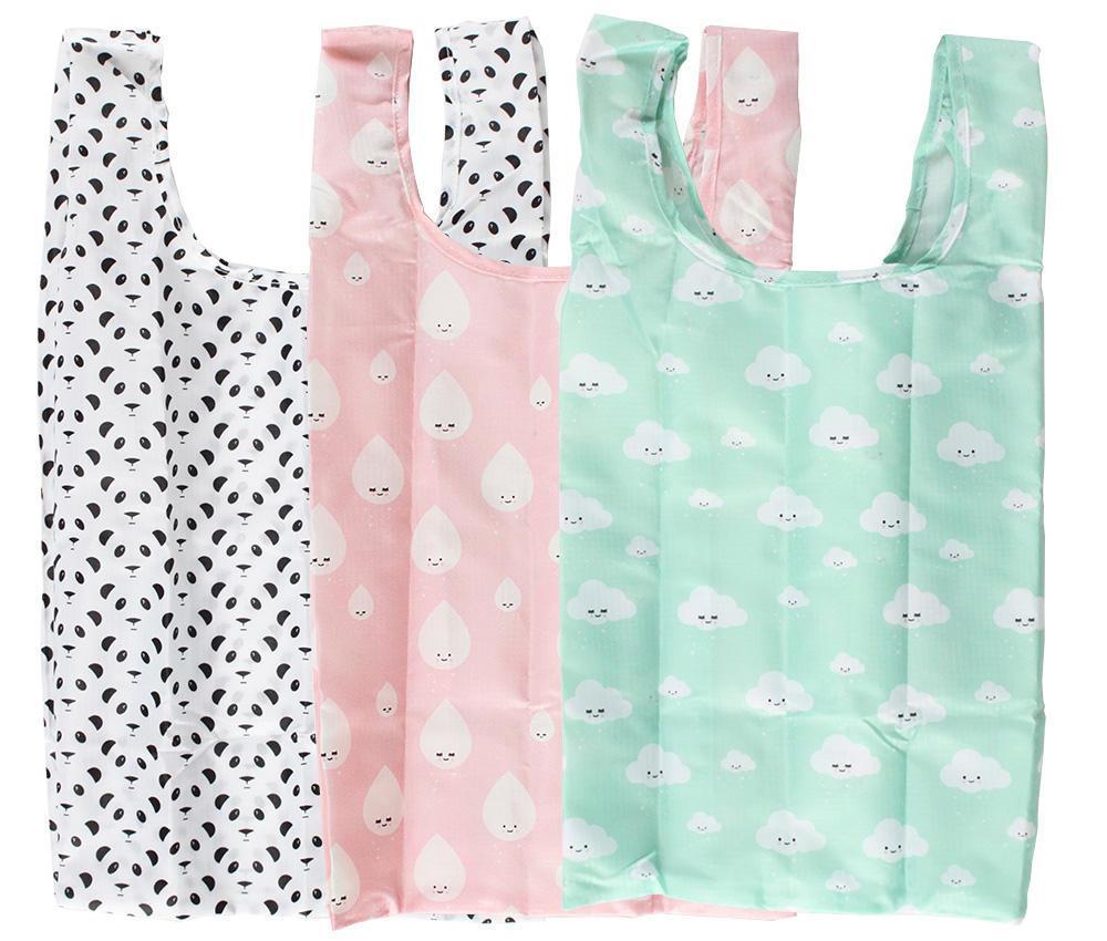 EEF lillemor Skládací taška v pouzdře Pastel Easy Panda, růžová barva, zelená barva, černá barva, textil
