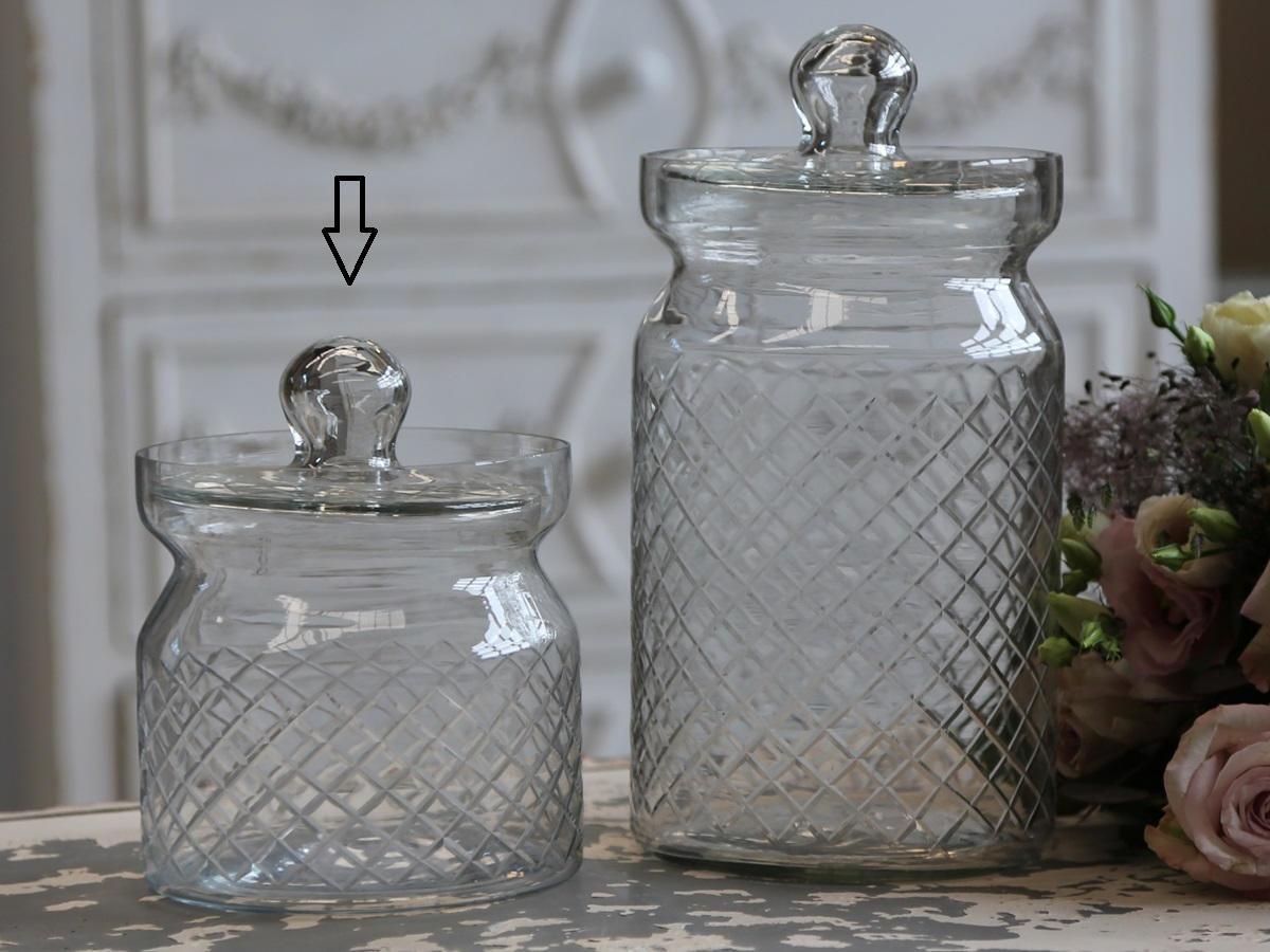 Chic Antique Skleněná broušená dóza - menší
