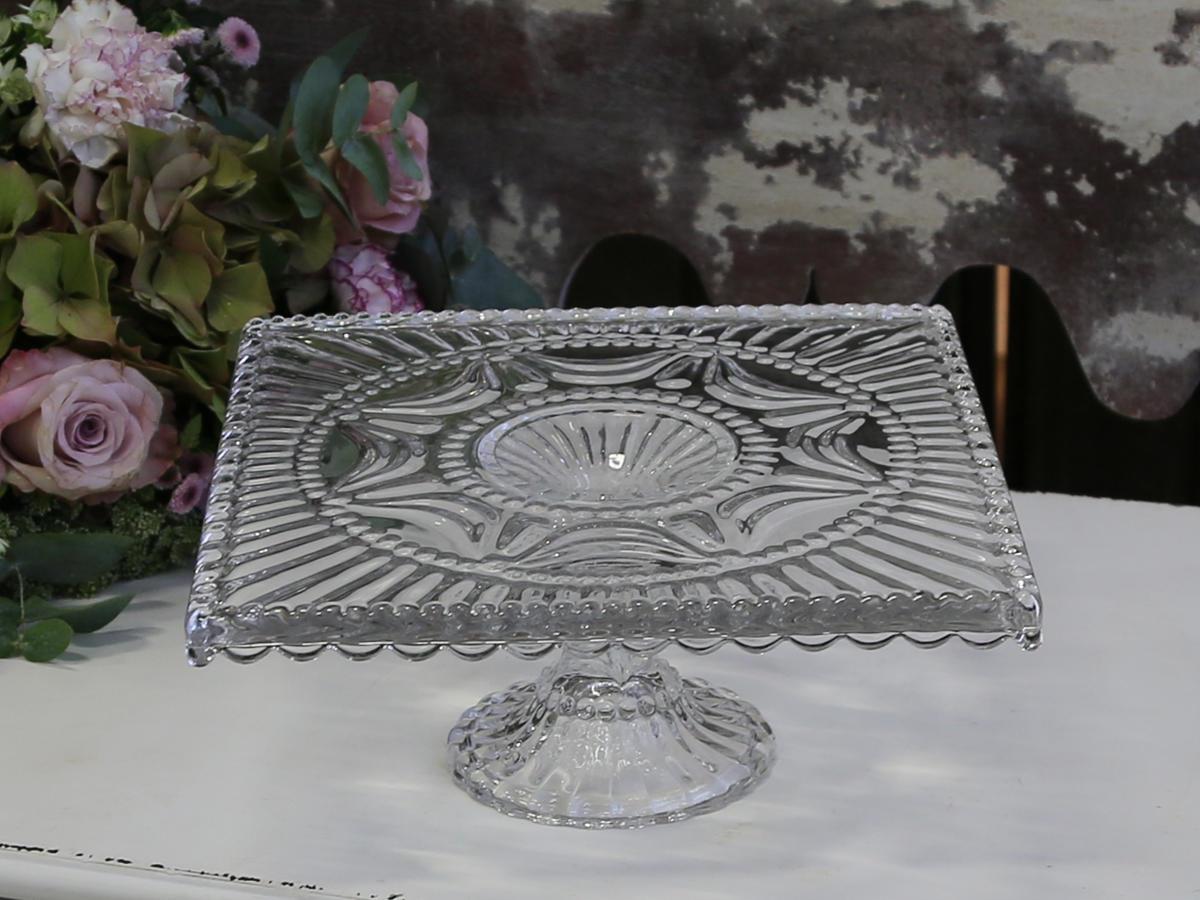 Chic Antique Hranatý dortový stojan Drop edge, čirá barva, sklo