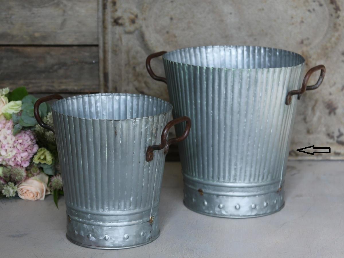 Chic Antique Zinkové vědro Old French - větší, šedá barva, zinek