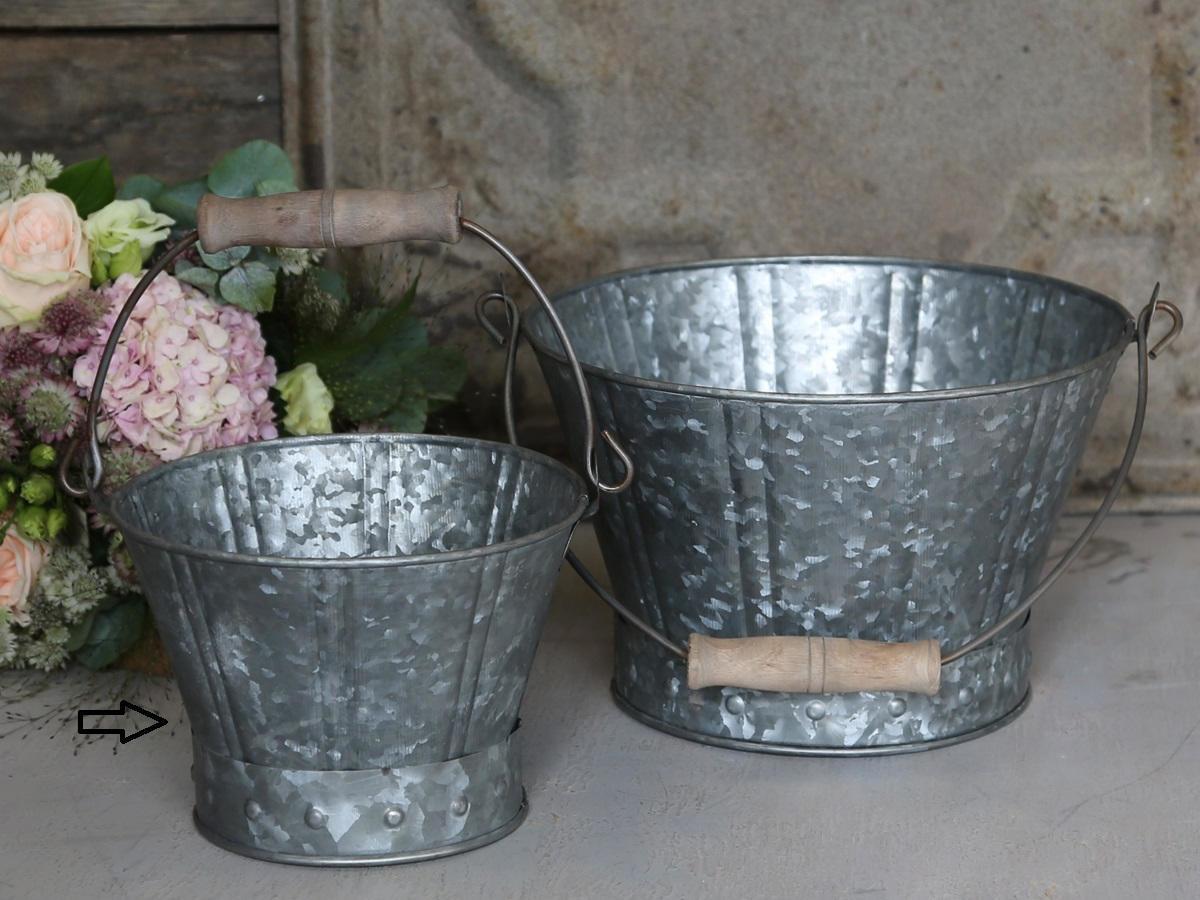 Chic Antique Zinkový kyblík Old French - menší, šedá barva, zinek