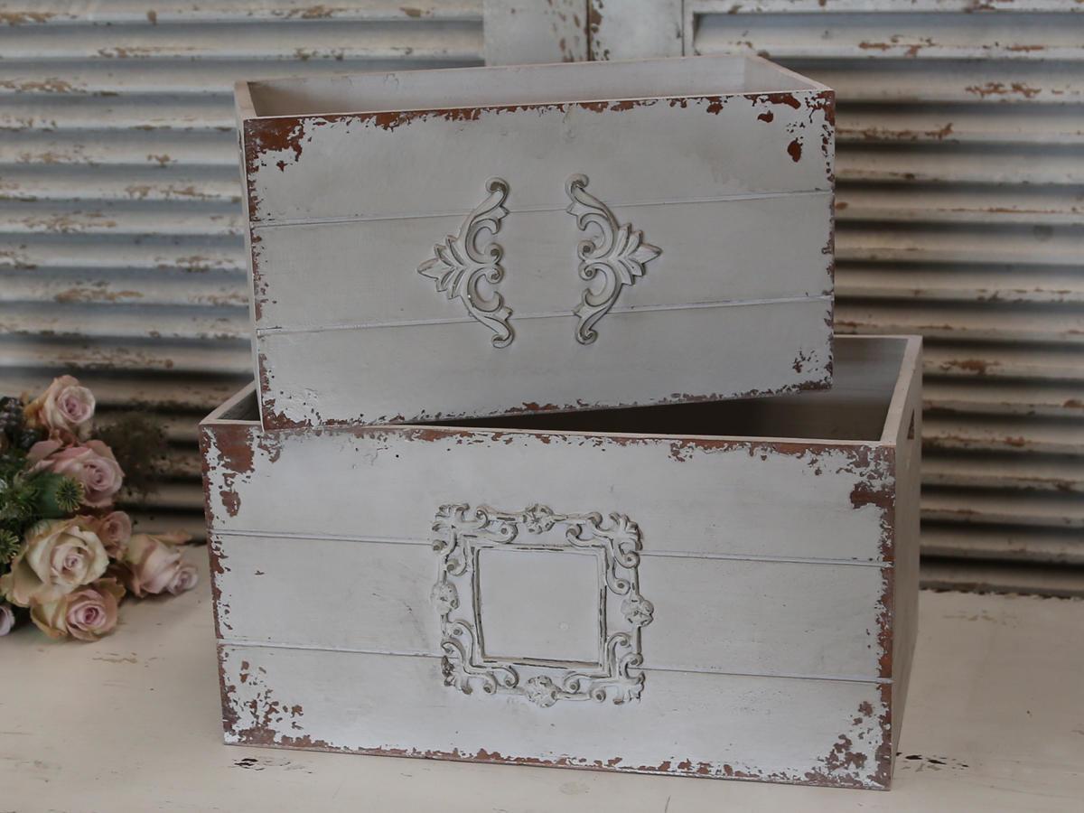 Chic Antique Dřevěný box Old French Menší, šedá barva, dřevo