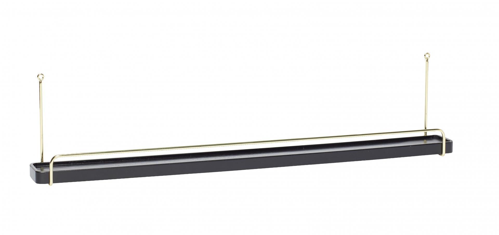 Hübsch Dřevěná polička s kovovými držáky Black and Brass, černá barva, zlatá barva, dřevo, kov