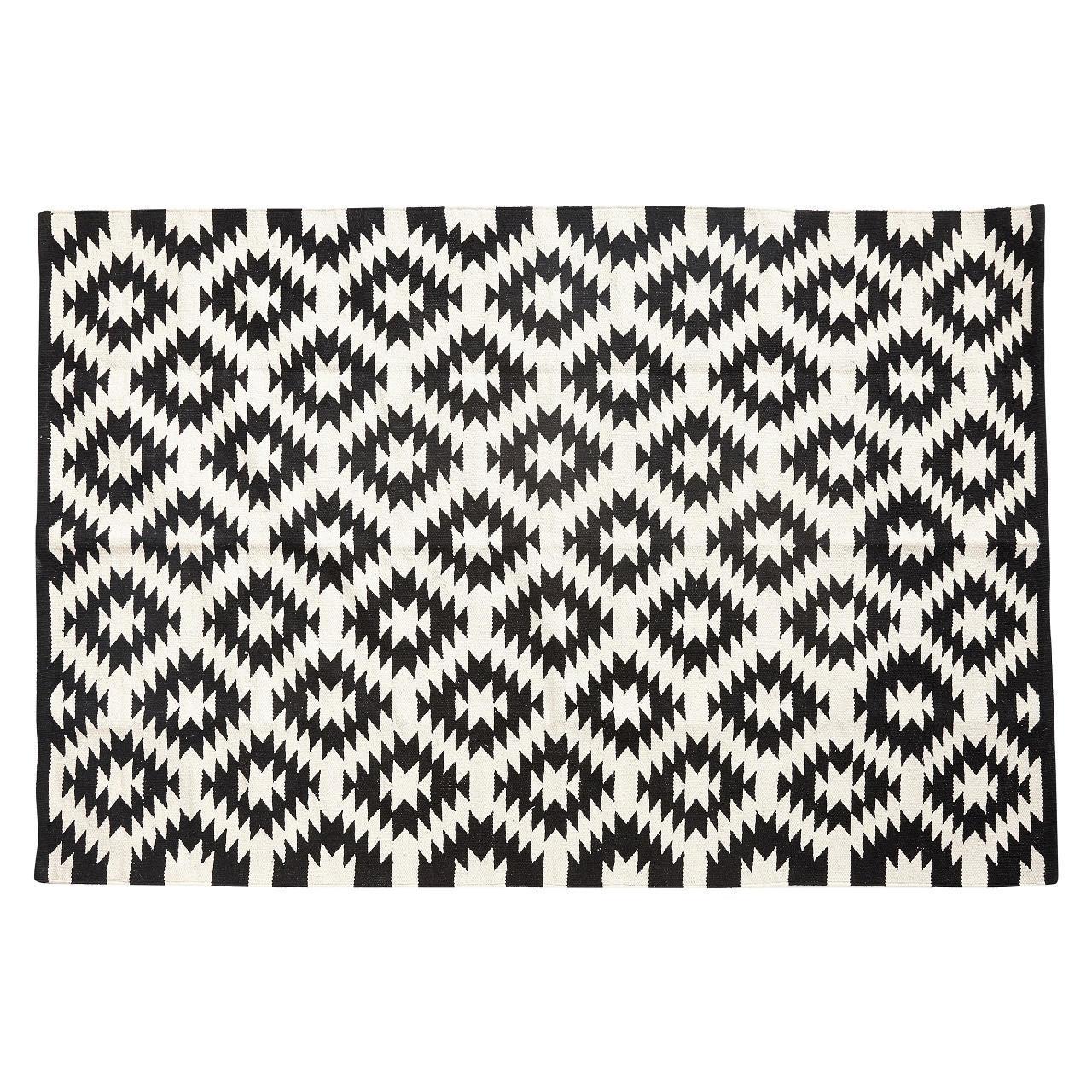 Hübsch Tkaný koberec Nature/black 120x180 Černá