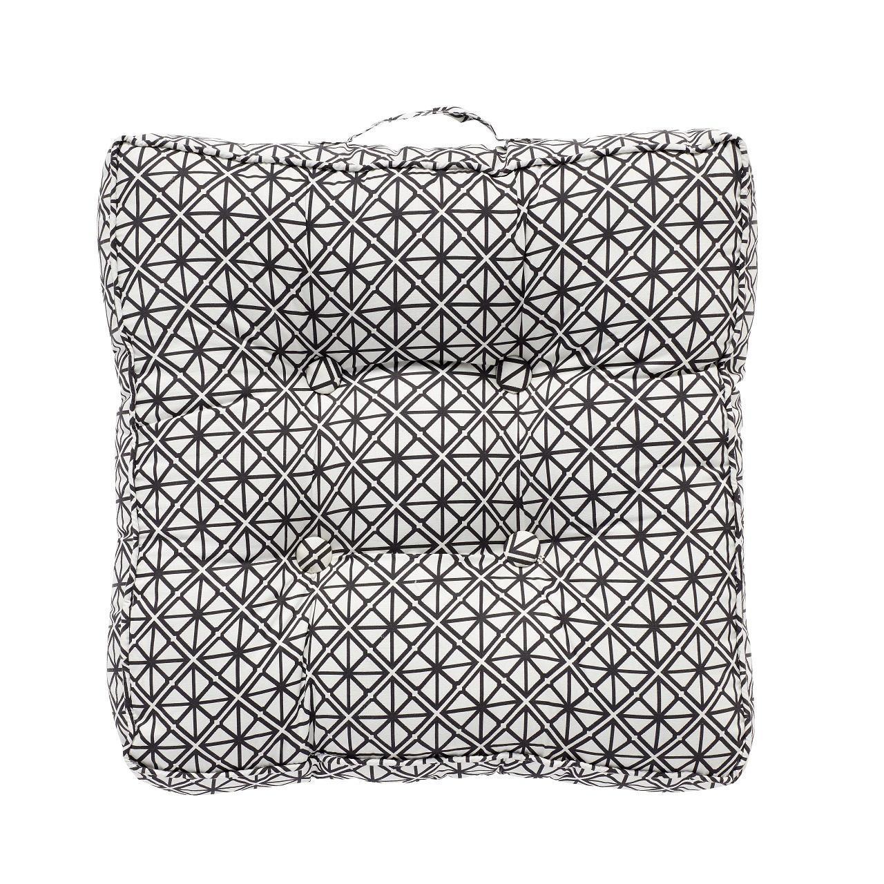 Hübsch Sedák Black Pattern, černá barva, bílá barva, textil