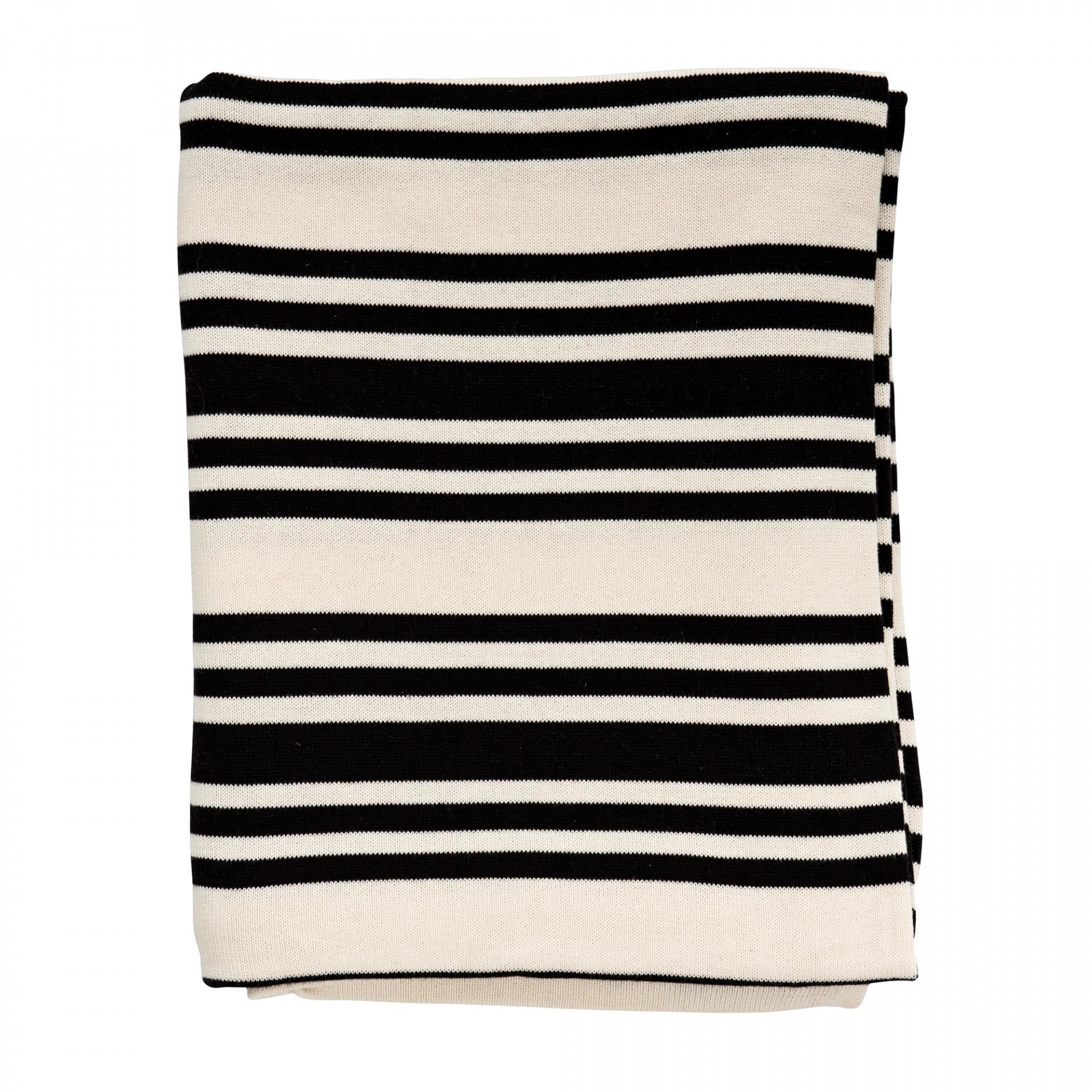 Bloomingville Bavlněný přehoz Off White/Black, černá barva, krémová barva, textil