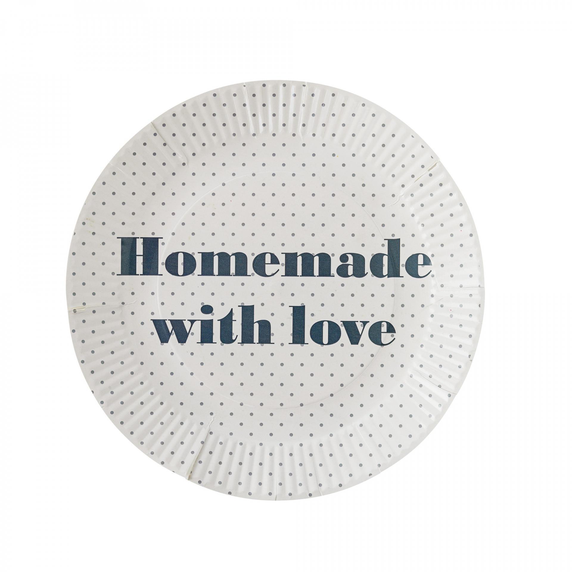 Bloomingville Papírové talíře Homemade - 8 ks, šedá barva, krémová barva, papír