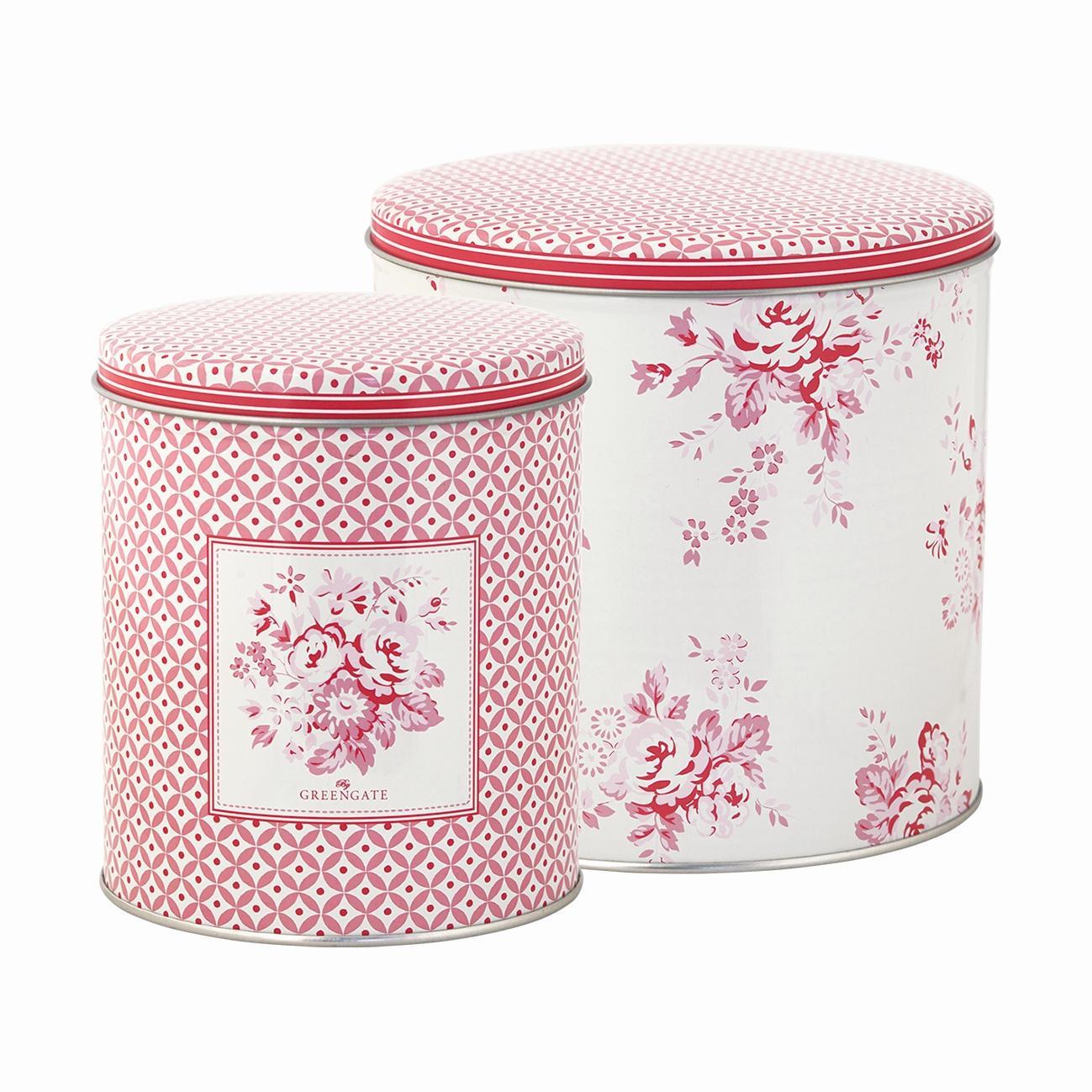 GREEN GATE Plechové dózy Abelone raspberry- set 2 ks, růžová barva, kov