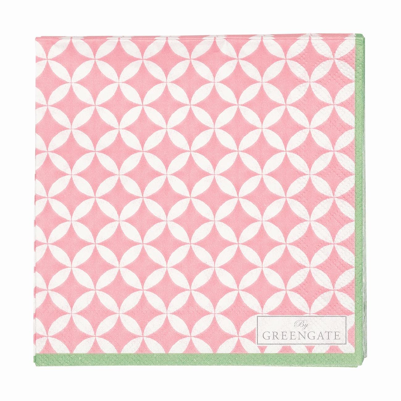 GREEN GATE Papírové ubrousky Mai peach - malé, růžová barva, papír
