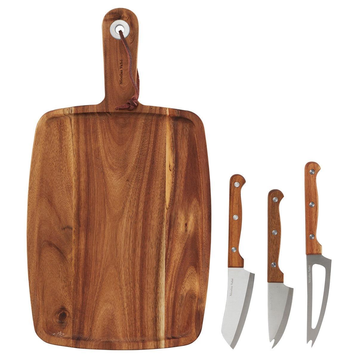 Nicolas Vahé Akáciové prkénko + 3 nože na sýr, hnědá barva, dřevo, kov