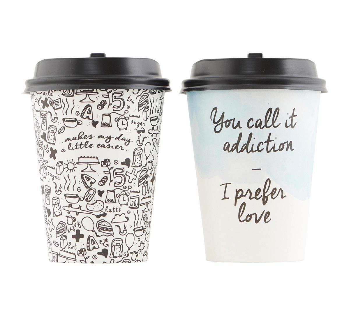 house doctor Papírové kelímky s víčkem Coffee Addiction - set 12 ks Šedé, multi barva, plast, papír